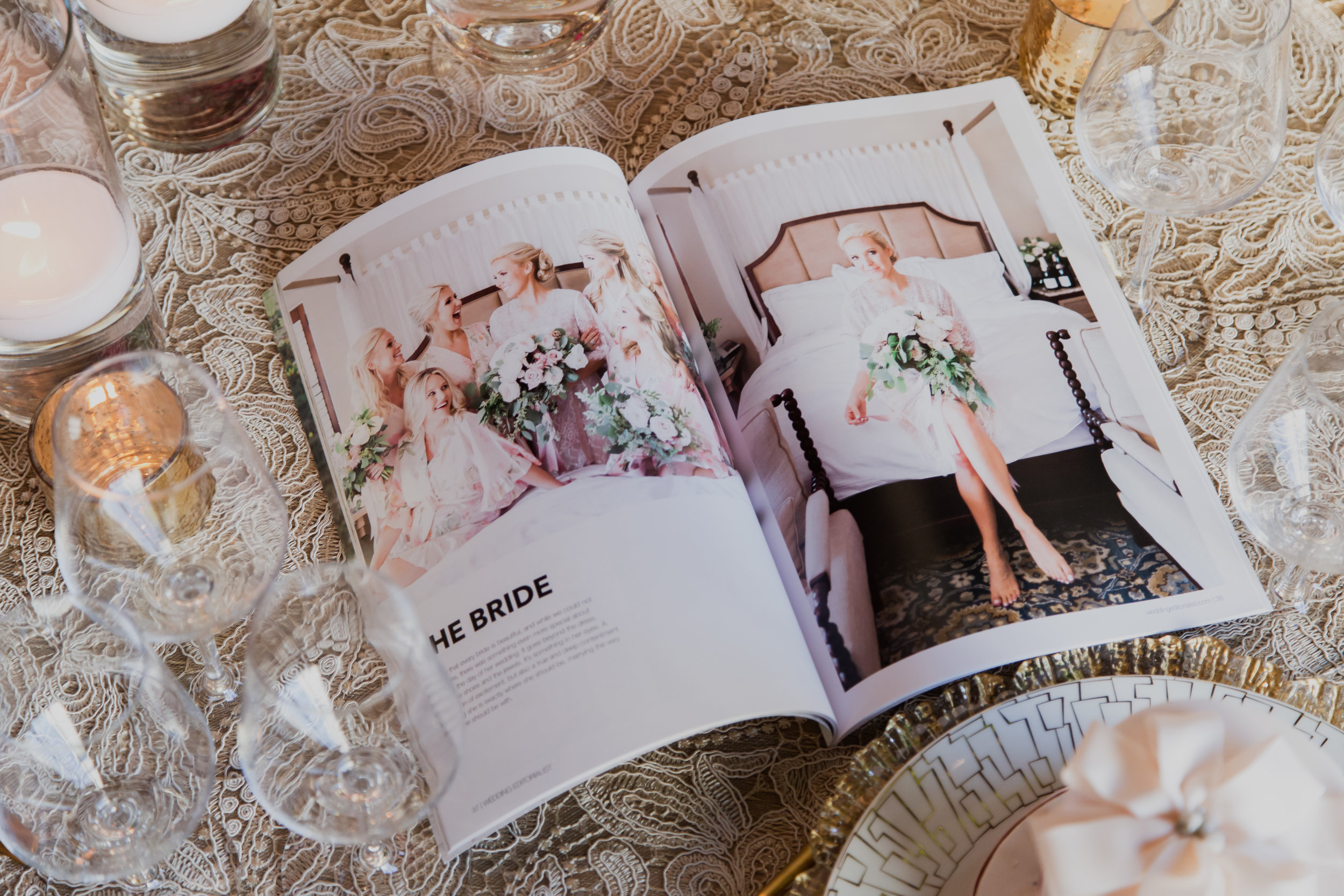 Bridal party featured in wedding magazine.Custom wedding magazines by Wedding Editorialist! Perfect for couples and businesses. Photo by Adam Frazier .www.weddingeditorialist.com.