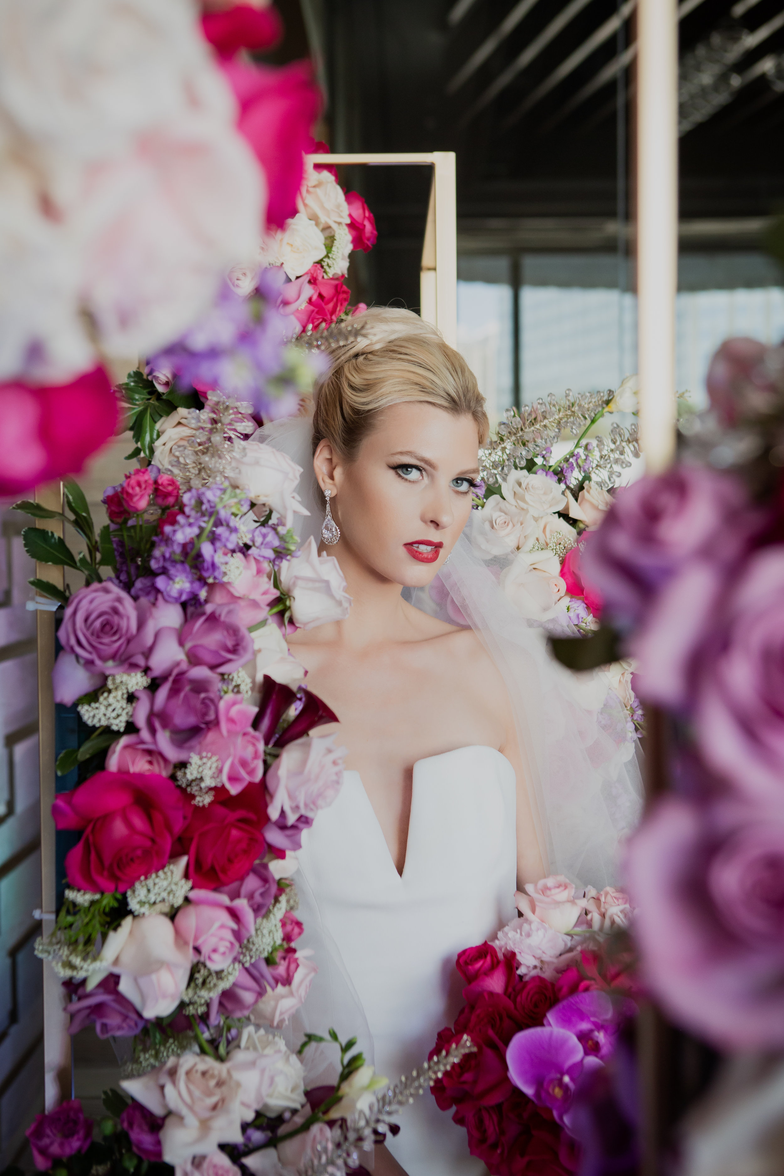 Bridal portrait at ARIA. Pink, fuchsia, and white wedding ceremony.  Las Vegas Wedding Planner & Event Designer  Andrea Eppolito Events  · Photography by  Adam Frazier Photo  · Video by  M Place Productions  · Floral & Decor by  DBD Las Vegas  · Venue  ARIA Primrose Ballroom  · Cigar Band by  Royal Cigar Company  and  Jason of Beverly Hills  · Beauty by  Glammed Up Las Vegas  · Dress by  Vera Wang  · Salon  Couture Bride Las Vegas  · Shoes  Bella Belle Shoes  · Bride  Katrina May Armenta  · Groom  Lucas Cuevas