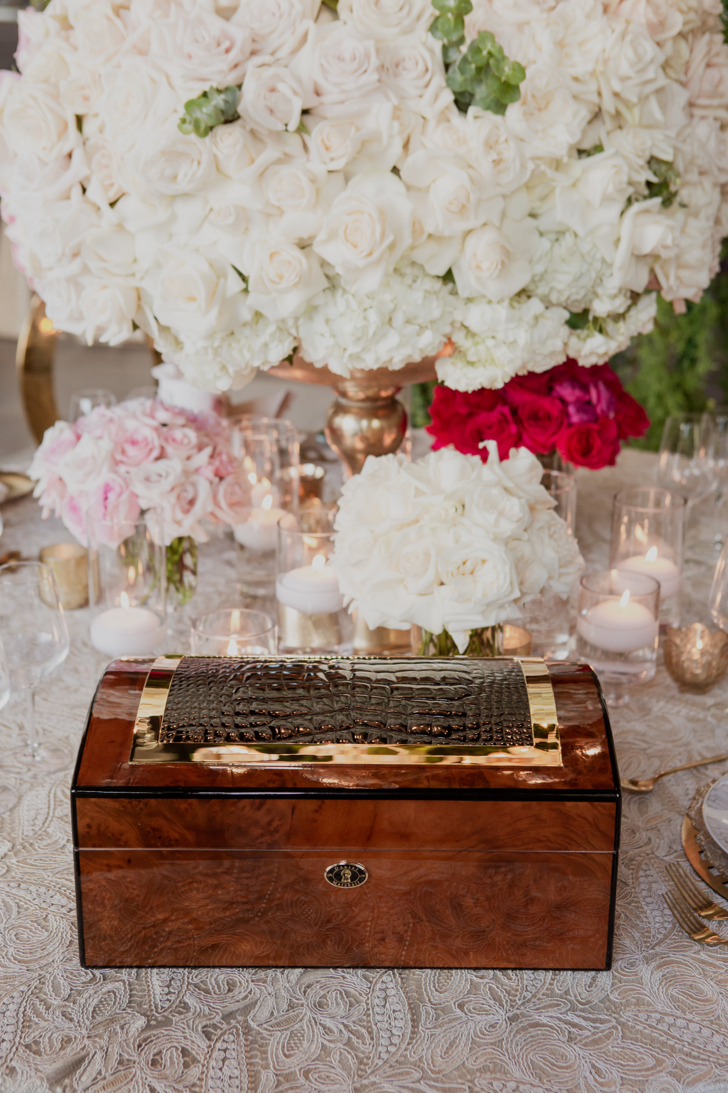 Hermes humidor with exotic skin inlay. Las Vegas Wedding Planner & Event Designer  Andrea Eppolito Events  · Photography by  Adam Frazier Photo  · Video by  M Place Productions  · Floral & Decor by  DBD Las Vegas  · Venue  ARIA Primrose Ballroom  · Cigar Band by  Royal Cigar Company  and  Jason of Beverly Hills  · Beauty by  Glammed Up Las Vegas  · Dress by  Vera Wang  · Salon  Couture Bride Las Vegas  · Shoes  Bella Belle Shoes  · Bride  Katrina May Armenta  · Groom  Lucas Cuevas