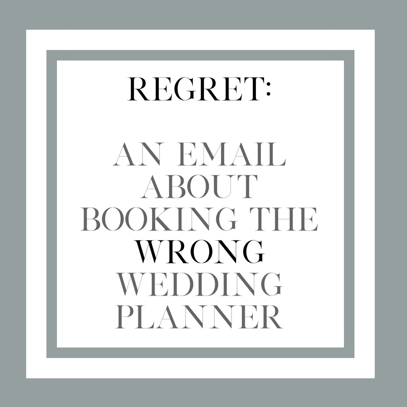 An email from a client who booked a different wedding planner and regrets the outcome.