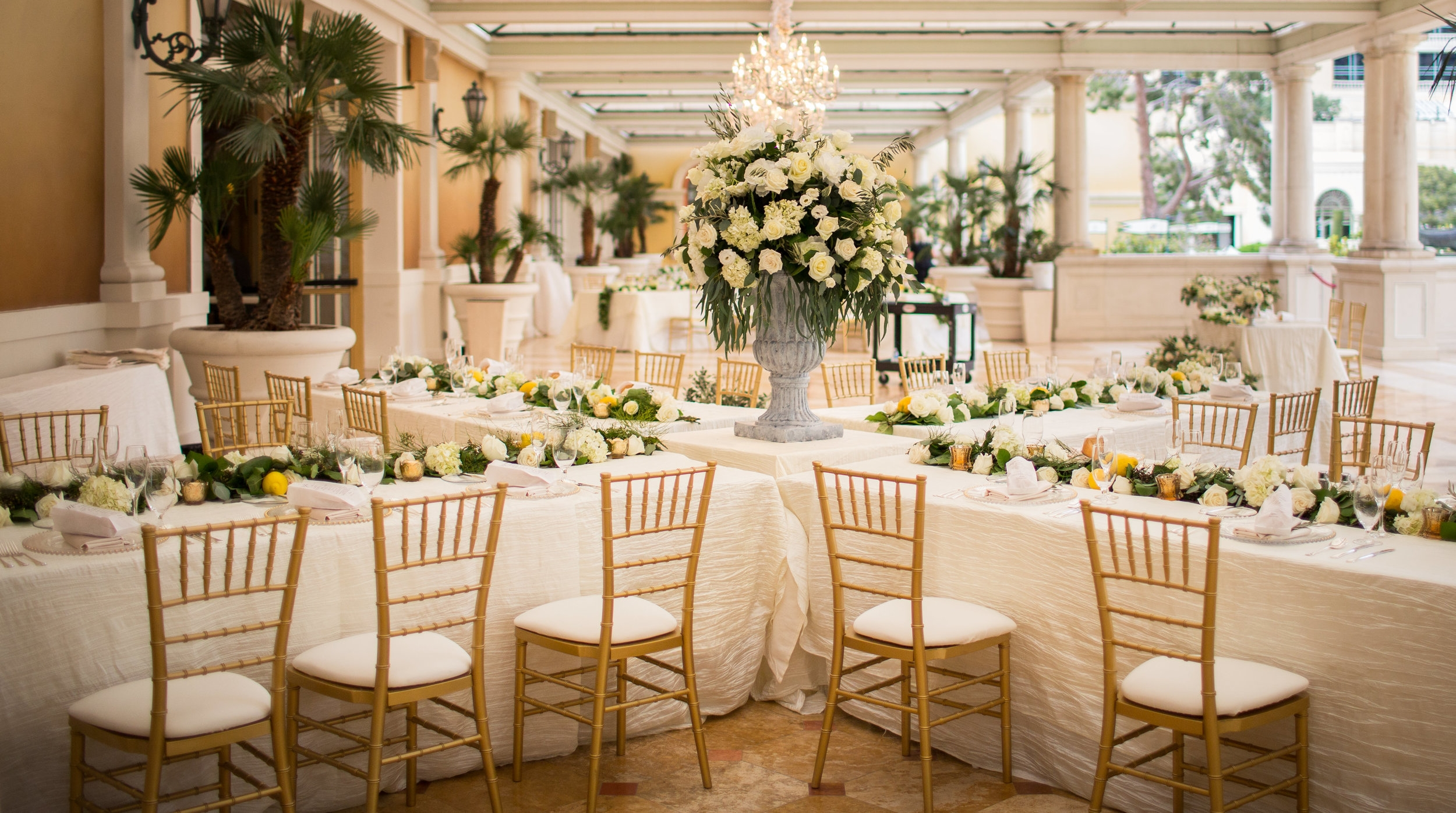 White and green Tuscan Wedding at Bellagio Las vegas.Wedding Planner:  Andrea Eppolito Events   | Photography  D2 Tuscan Wedding Photography  | Videography  M Place Productions  | Venue & Catering:  Bellagio  | Floral & Decor:  Destinations by Design  | Lighting:  LED Unplugged   | Music: Classical Entertainment &  DJ Mike Fox  | Hair & Make Up:  Amelia C & Co