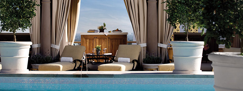 Pool deck at The Montage Beverly Hills.