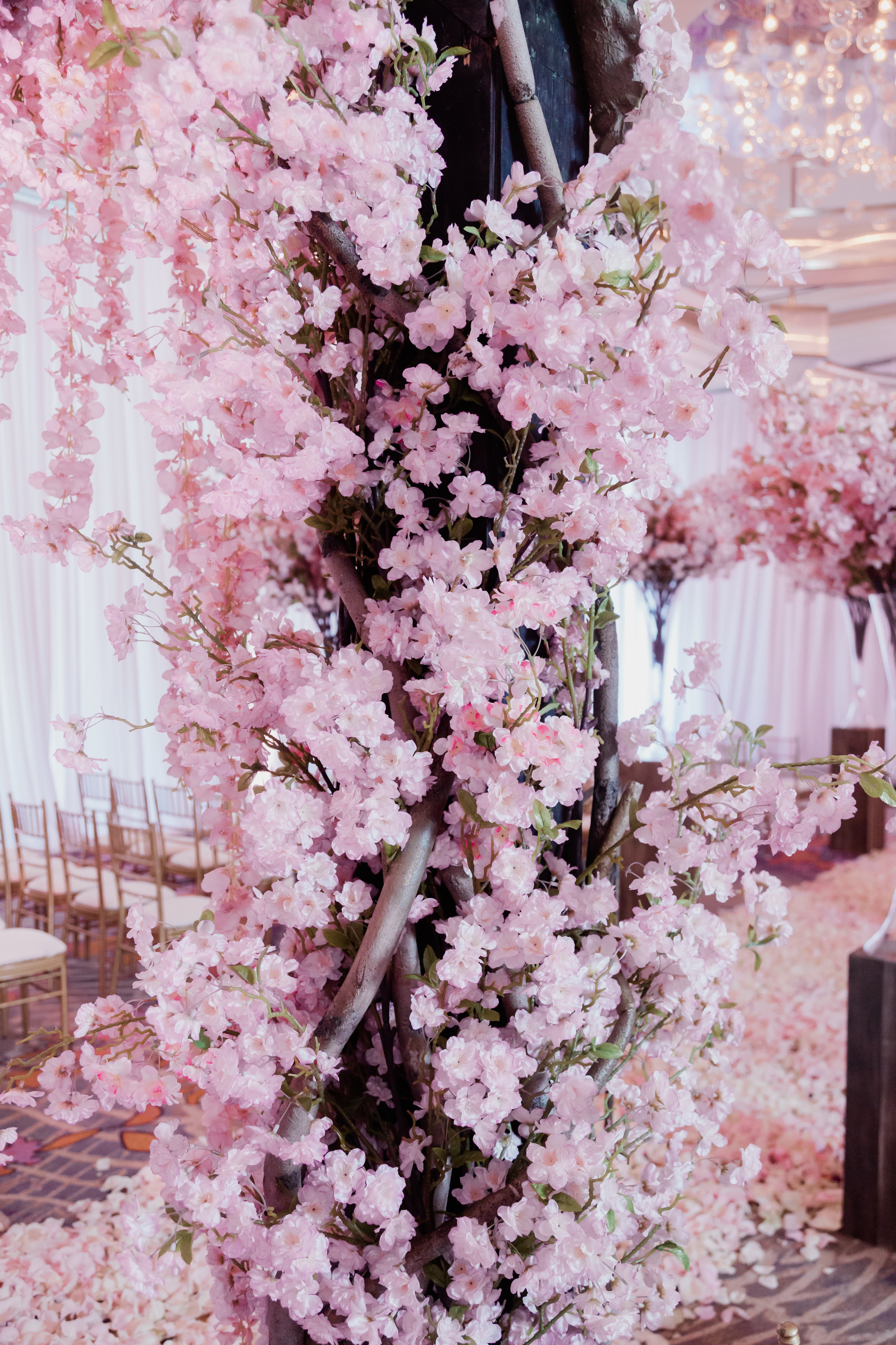 Cherry blossoms at a Las Vegas Wedding. Wedding Planning and Event Design by Andrea Eppolito www.andreaeppolitoevents.com. Photos by Adam Frazier.