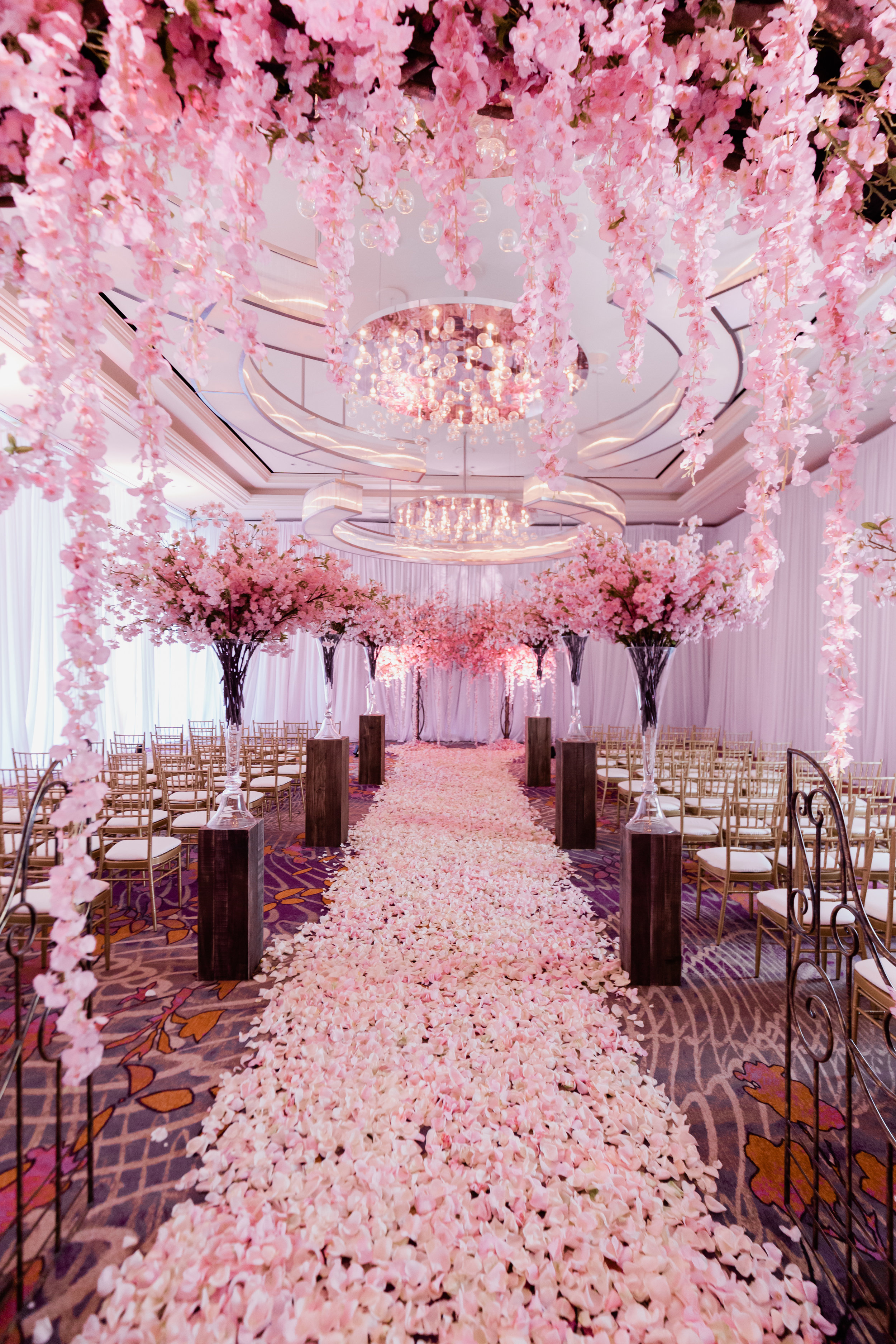 Pretty in Pink Cherry Blossom wedding in Las Vegas. Wedding Planning and Event Design by Andrea Eppolito www.andreaeppolitoevents.com. Photos by Adam Frazier.