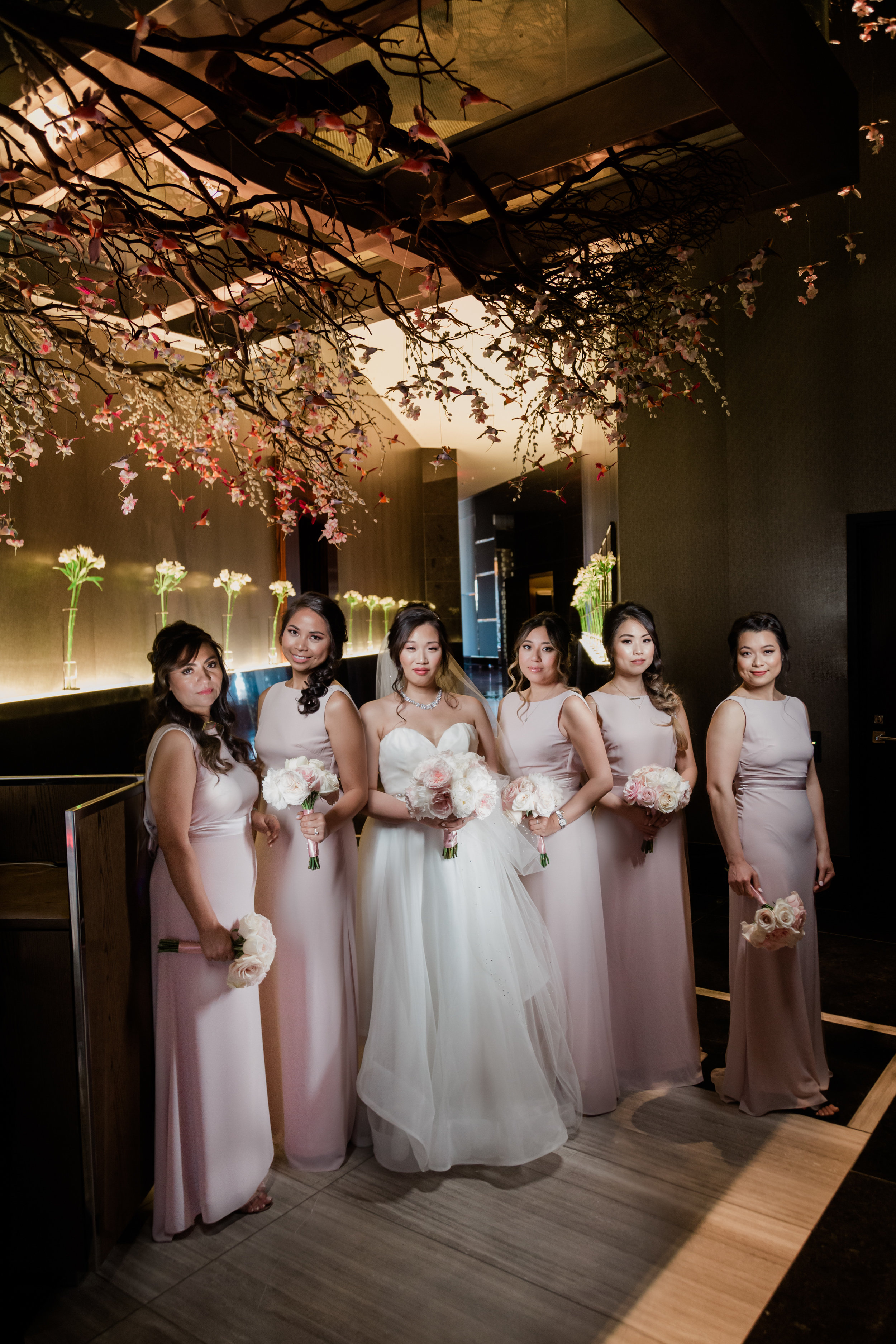 Bridesmaids in pink dresses in Las Vegas. Las Vegas Wedding Planner Andrea Eppolito. Photo by Adam Frazier.