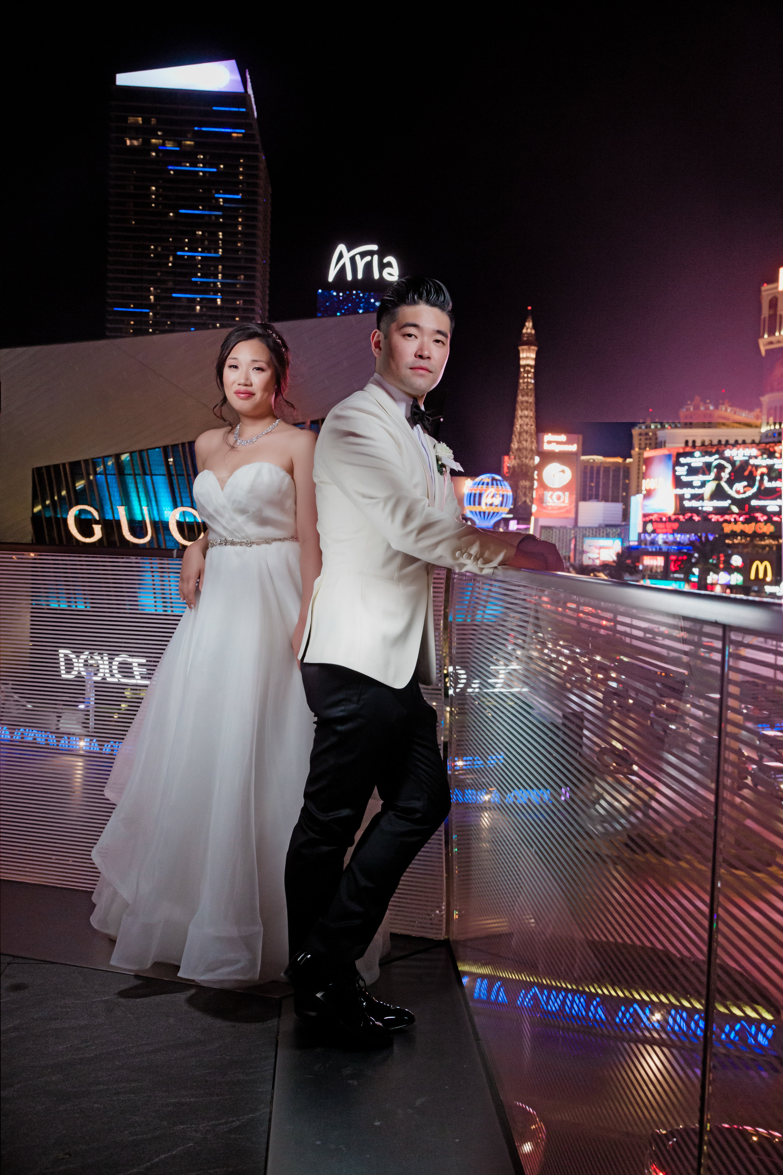 Las Vegas Wedding Photo on the Srip. Las Vegas Wedding Planner Andrea Eppolito. Photo by Adam Frazier.