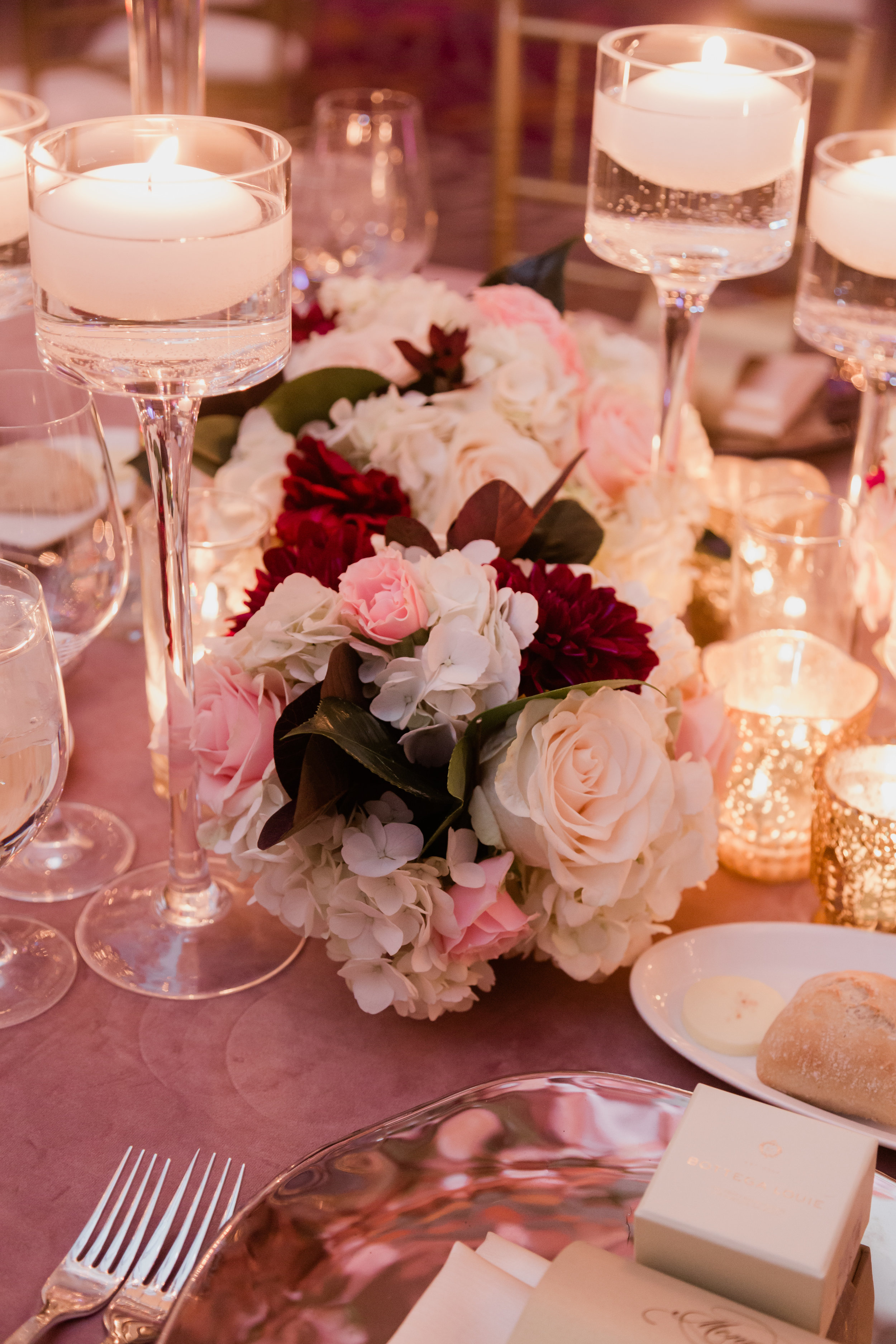 Pink and burgundy wedding in Las Vegas. Las Vegas Wedding Planner Andrea Eppolito. Photo by Adam Frazier.