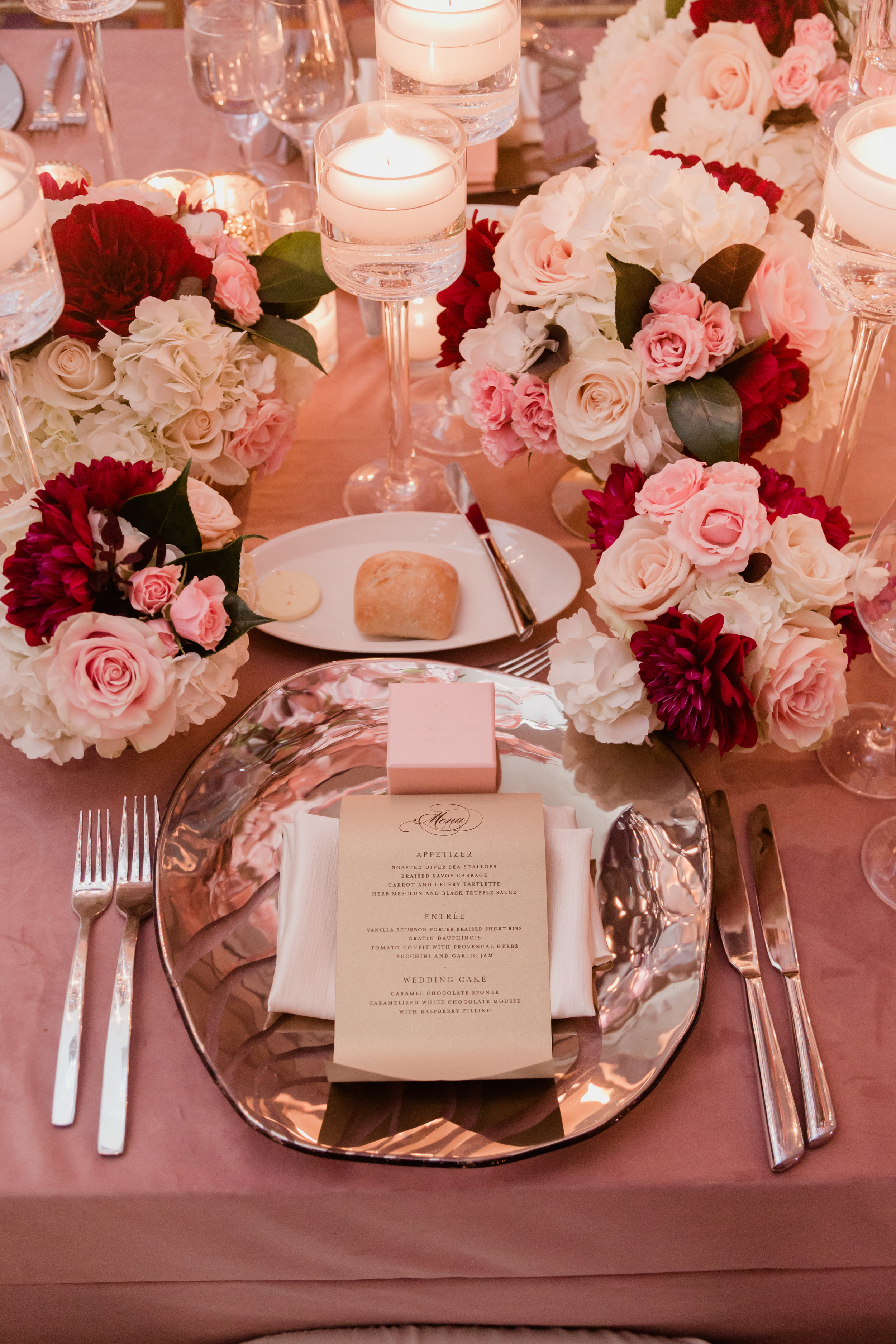 Pink and blush place setting. Las Vegas Wedding Planner Andrea Eppolito. Photo by Adam Frazier.