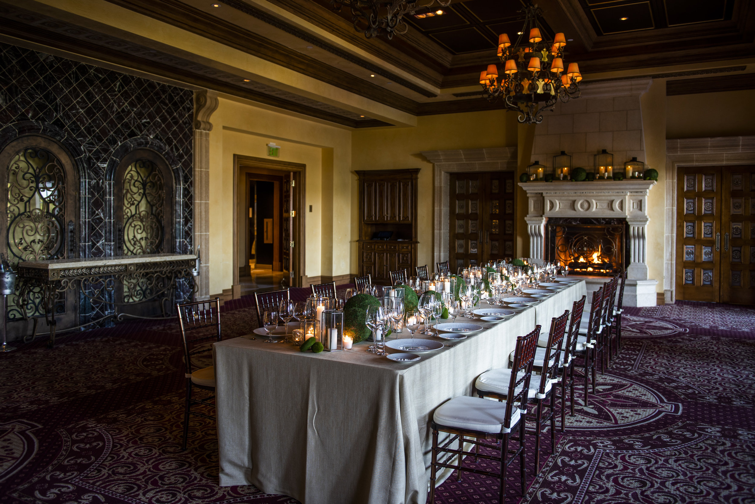 The Private Room at The Addison. Wedding Planner www.andreaeppolitoevents.com. Photo by Boyd Harris.