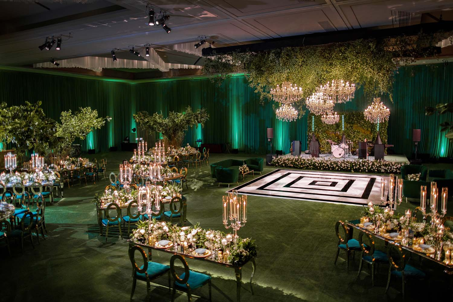 Green on green city of oz wedding at ARIA Las Vegas with White and Black dance floor. Luxury Las Vegas Wedding Planner Andrea Eppolito. www.andreaeppolitoevents.com. Photo by Rene Zadori.