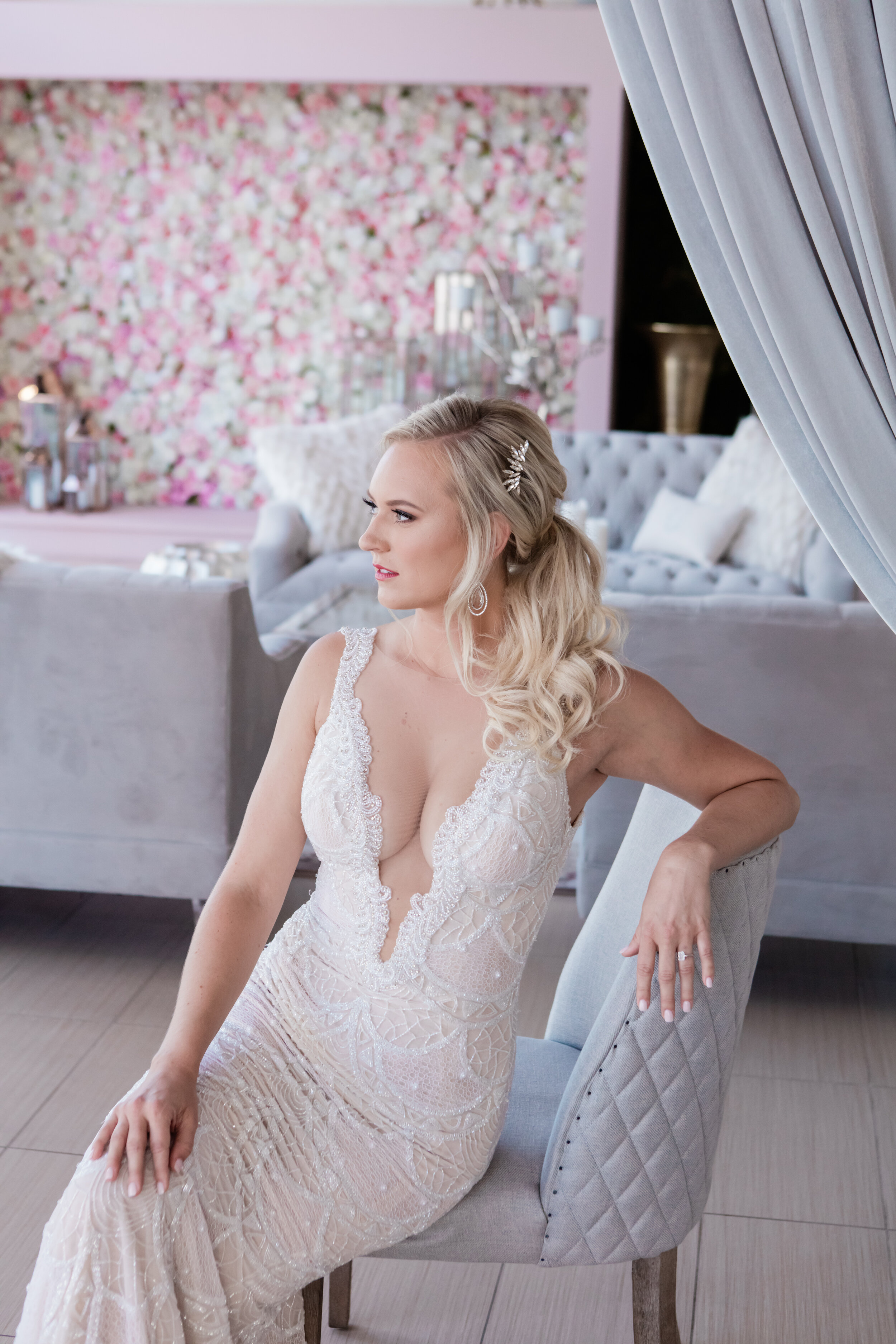 Reception Dress and new styling. Bridal fashion session in suite. Las Vegas Wedding Planner www.andreaeppolitoevents.com. Photo by Adam Frazier.