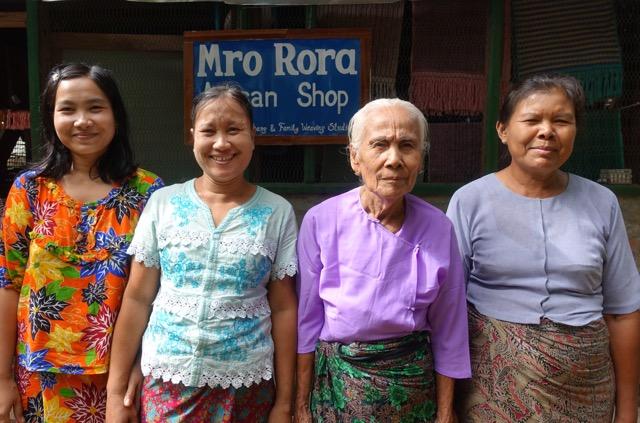 Master weavers Pin Ei Nwe, Ma Thein Sein, Daw Ma Nyung and Ma Moe