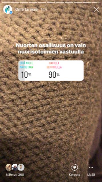 Nuvan instagram-tilillä hyödynnetään nopeita somekyselyjä
