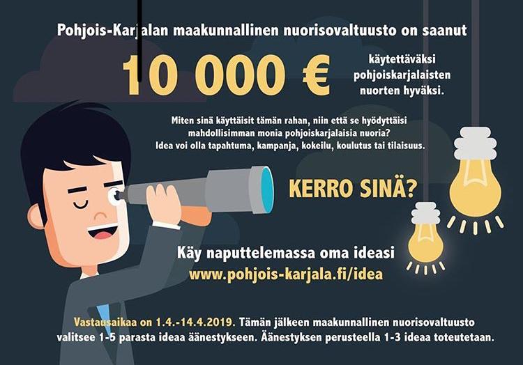 Pohjois-Karjalassa nuorisovaltuusto järjesti ideakilpailun 10 000 euron käyttökohteesta.