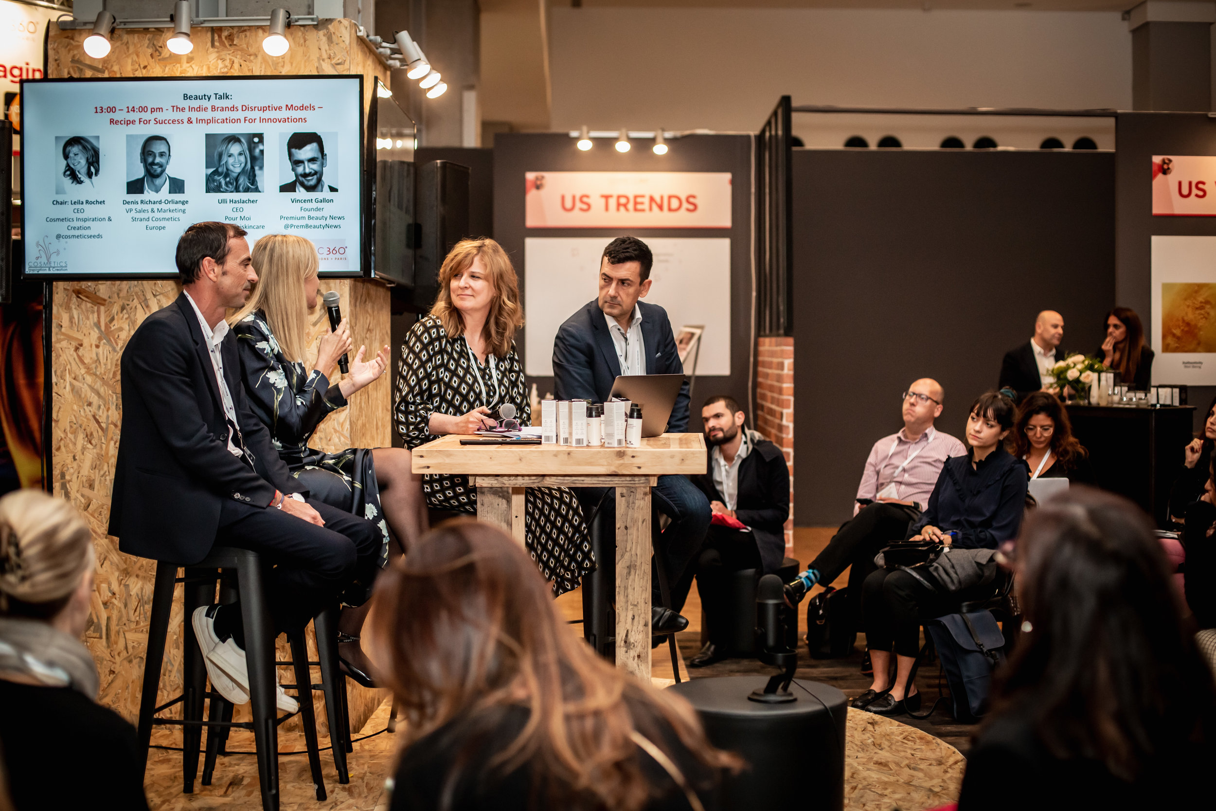 Photo- Cecile Muzard /Cosmetic360 - Round Table on Indie Brands with Denis Richard-Orliange - Strand Cosmetics Europe /Ulli Hashlacher (CEO & Pour Moi – Indie brand)/ Leila Rochet / Vincent Gallon – CEO Premium Beauty News