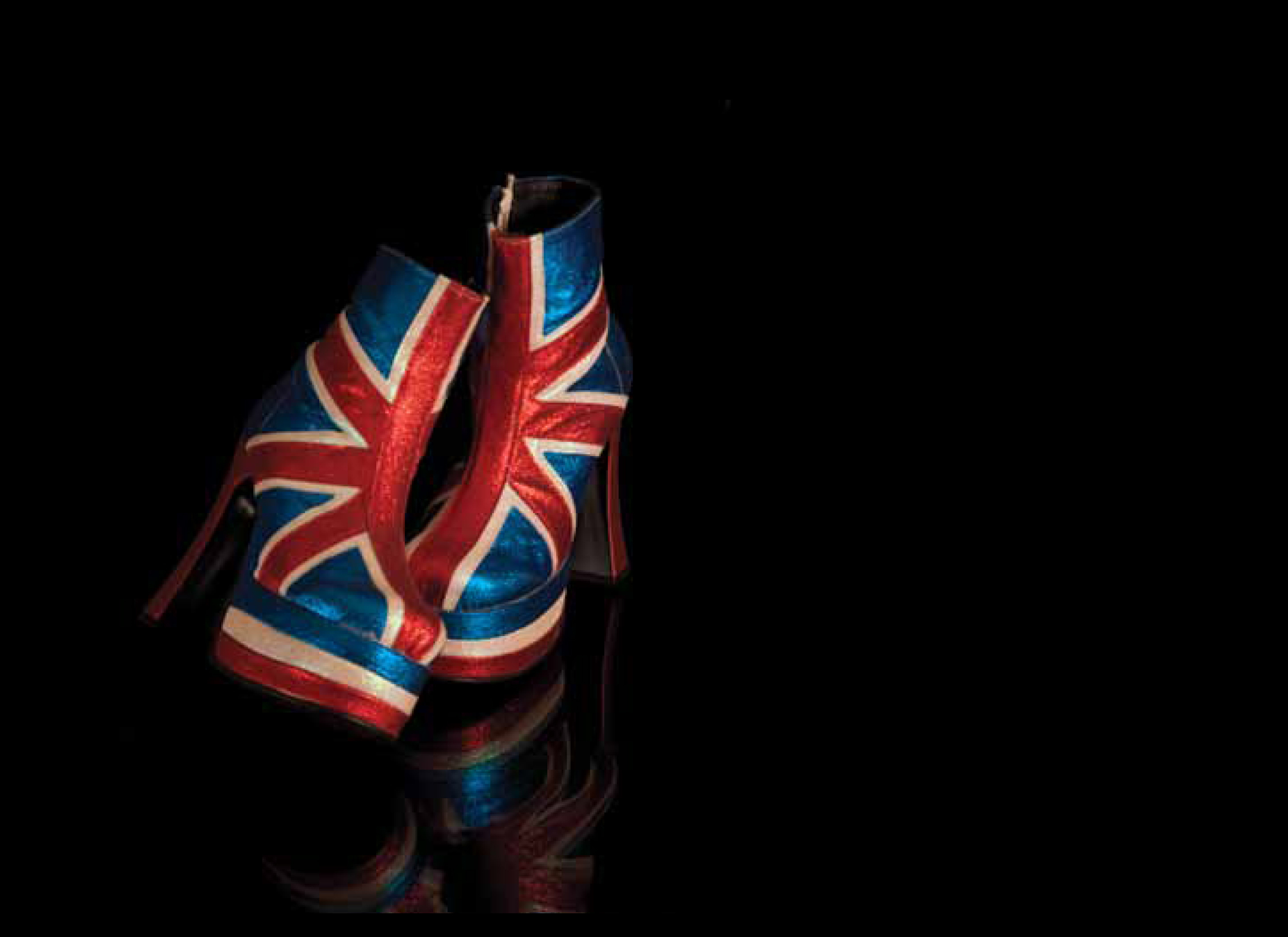 Image: Geri Halliwell, Istanbul, 1997. Union Jack platform ankle boots. Designed by Shelley's