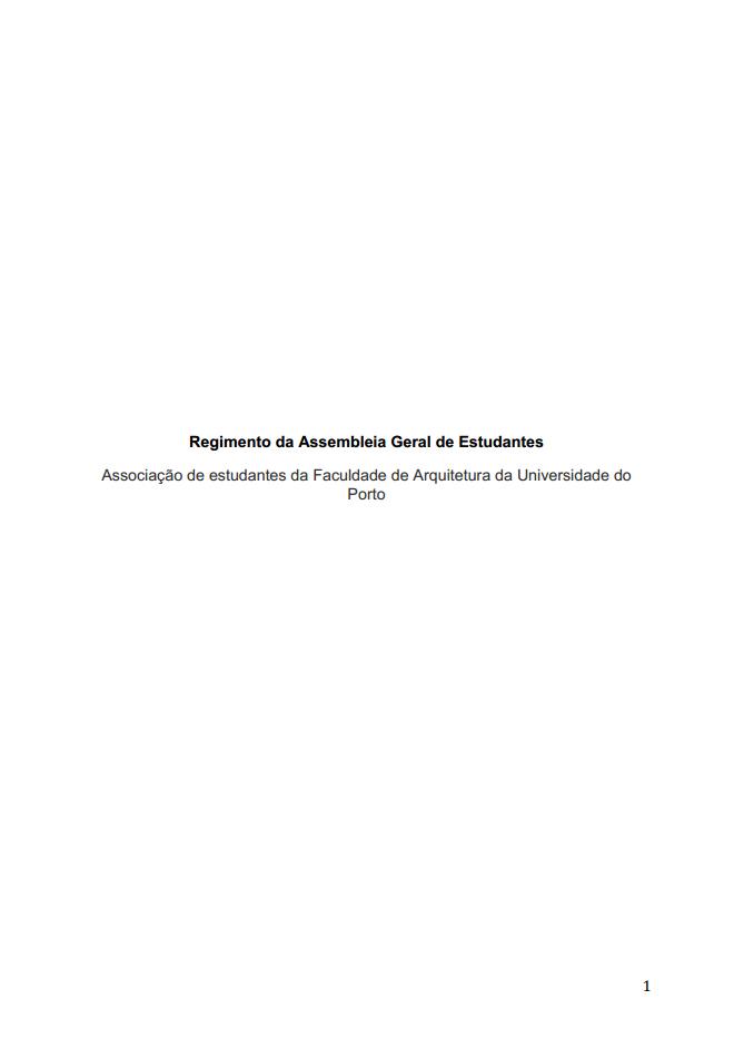 REGIMENTO DA ASSEMBLEIA GERAL DE ESTUDANTES