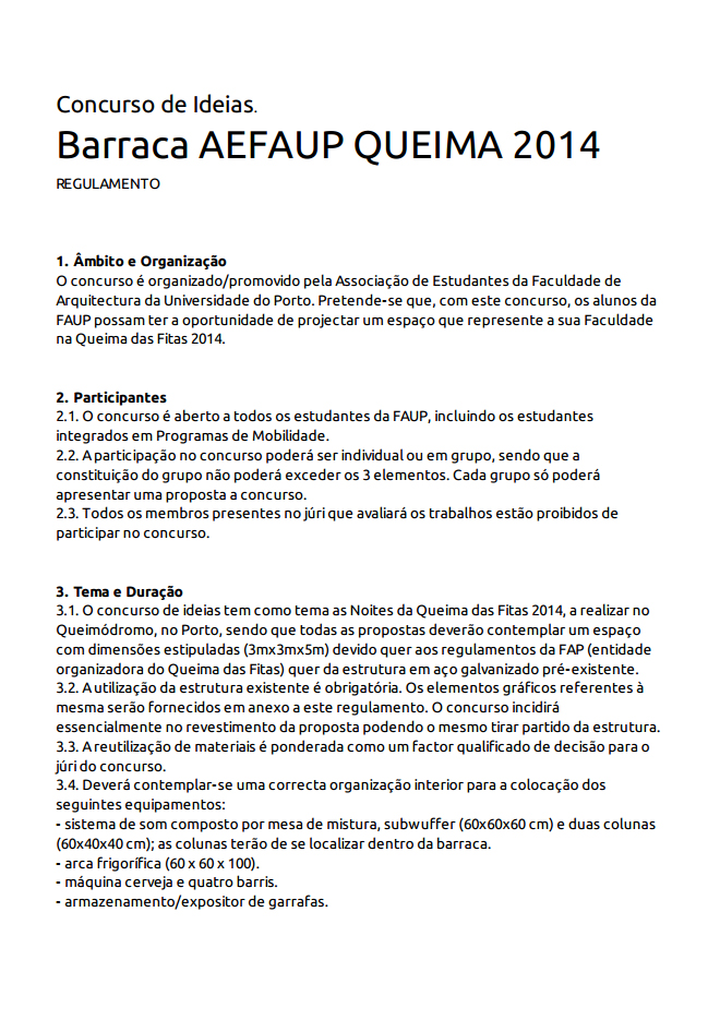 REGULAMENTO CONCURSO DE IDEIAS BARRACA DA QUEIMA'14