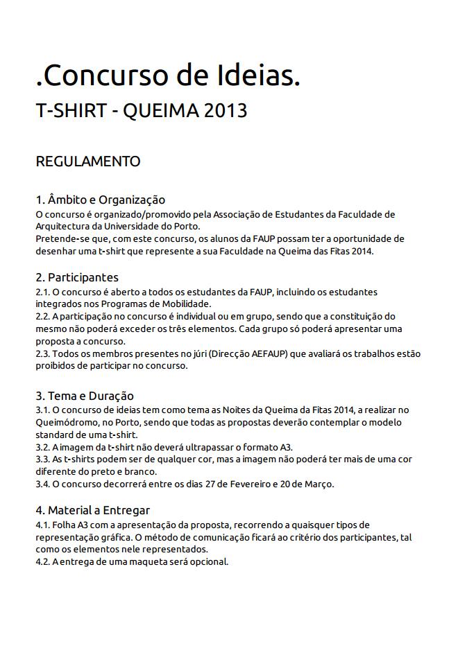 REGULAMENTO CONCURSO DE IDEIAS T-SHIRT DA QUEIMA'14