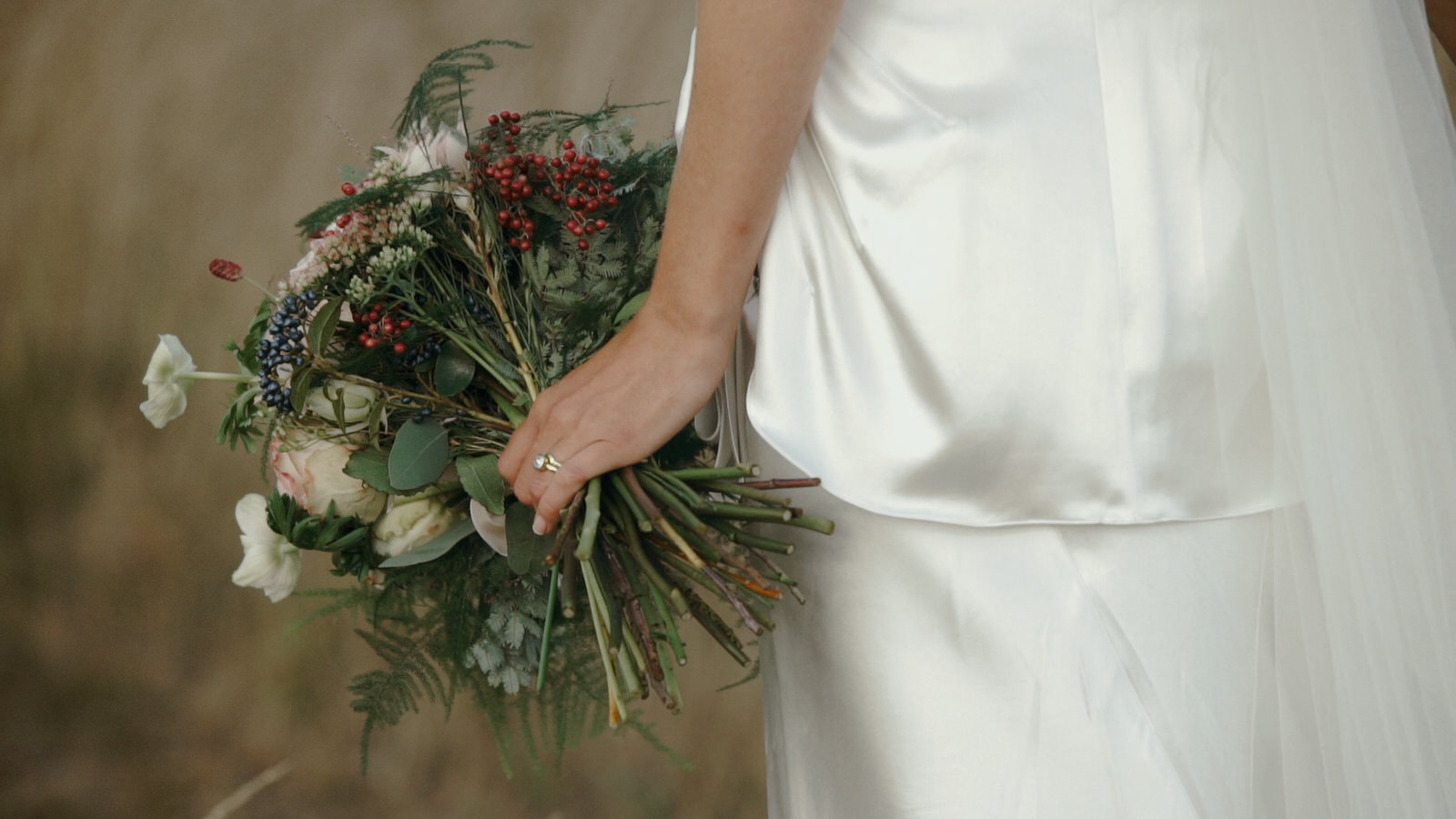 Bride holding her bouquet of wedding flowers
