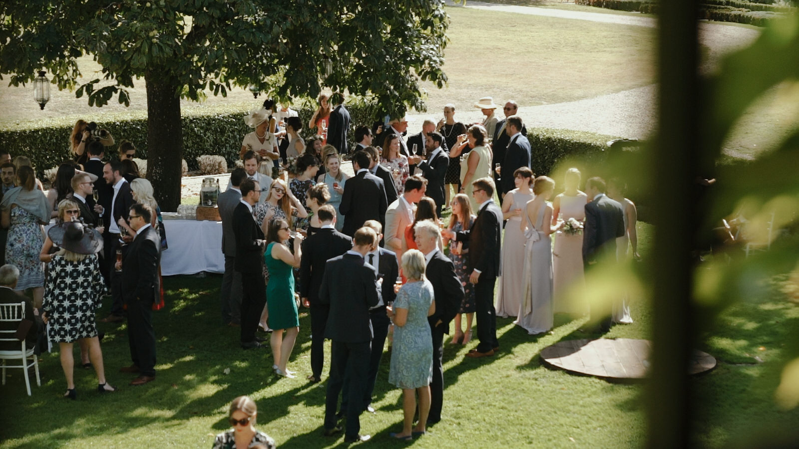 Guests enjoy cocktails at the Chateau Rigaud