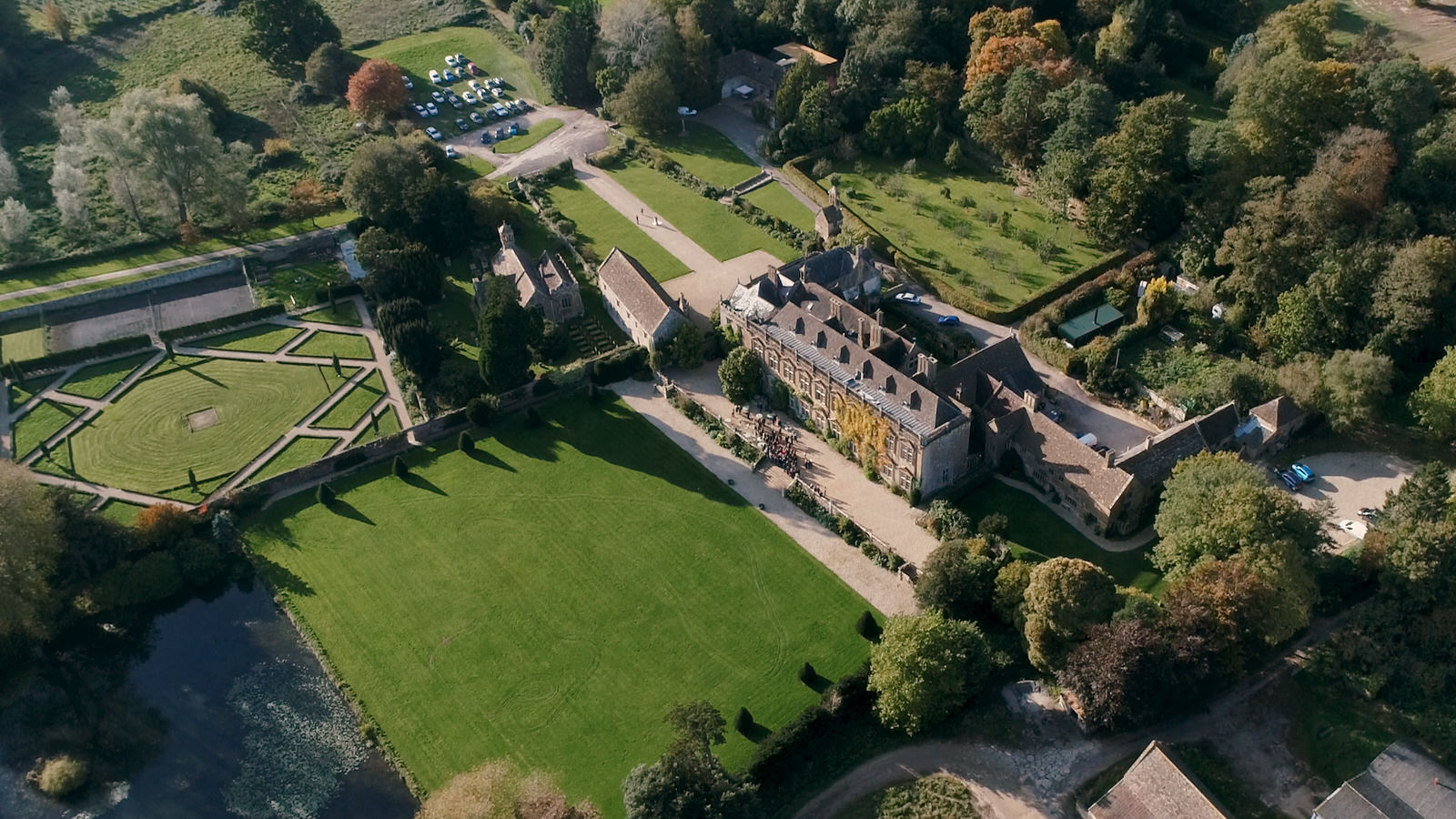 aerial photograph of Brympton House in Somerset