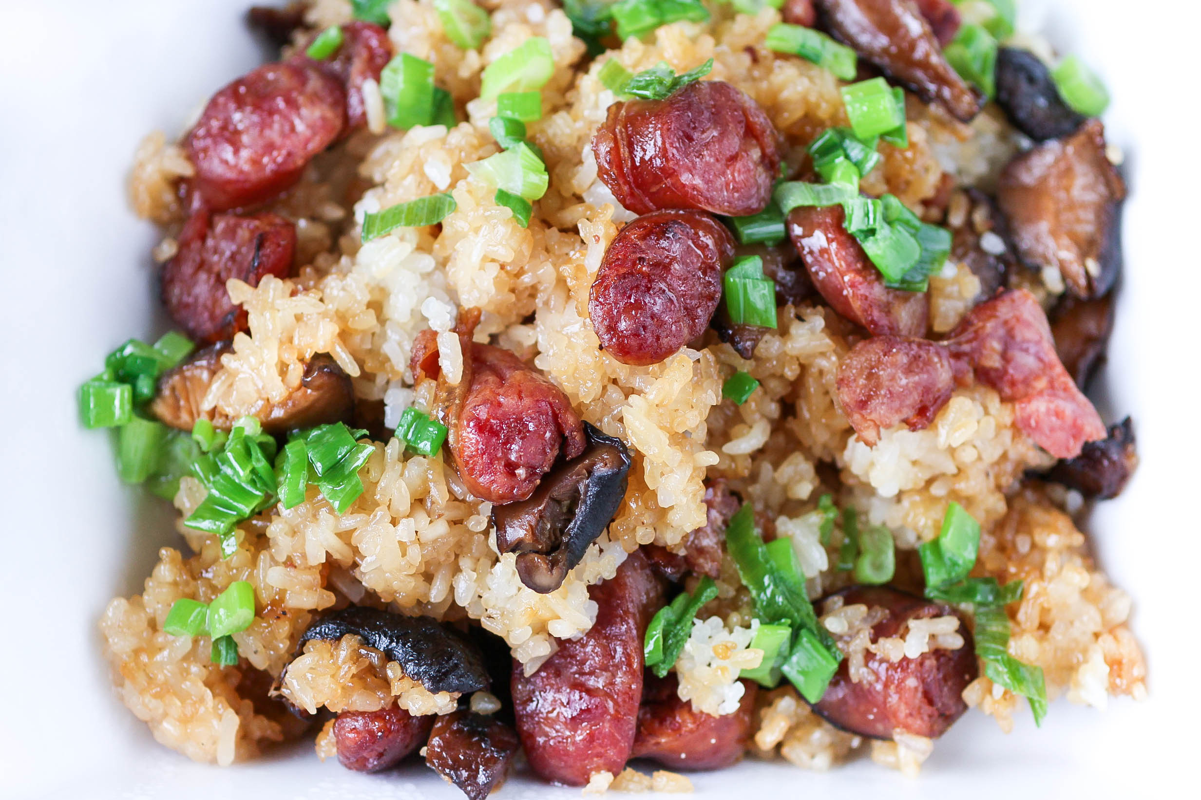 Sticky rice with Chinese sausage, Shitake mushrooms and dried shrimp (Xoi Man)