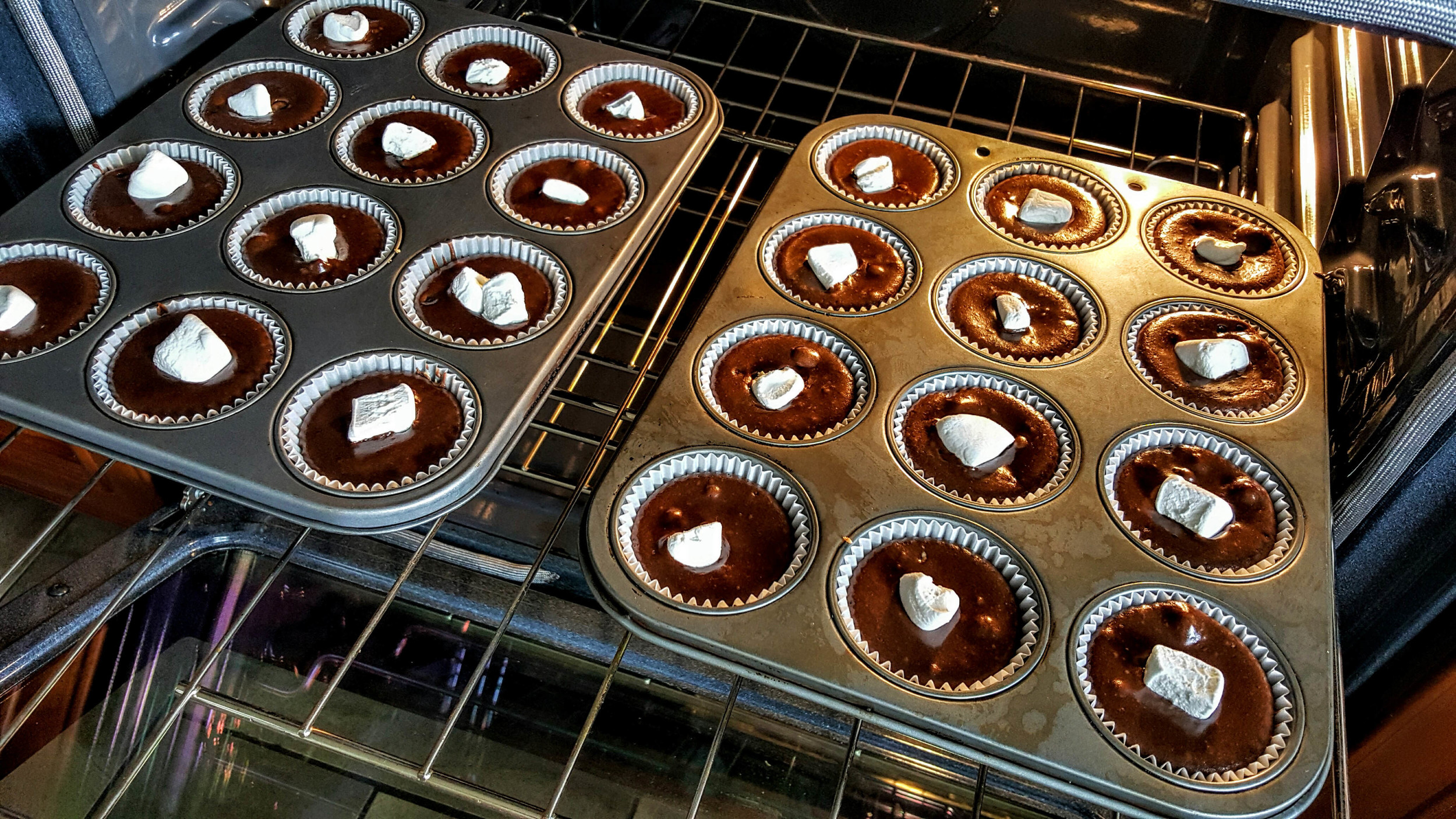 Add frozen marshmallows at the end of the baking time to prevent it from melting into the batter.