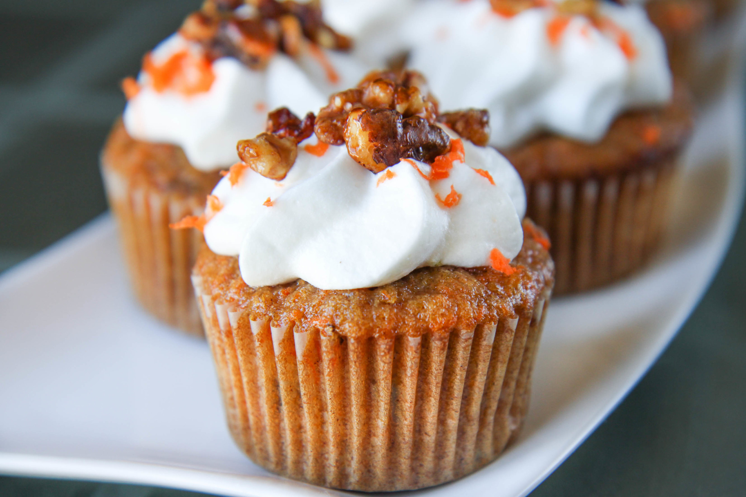 Carrot Cupcake with Caramelized Walnuts