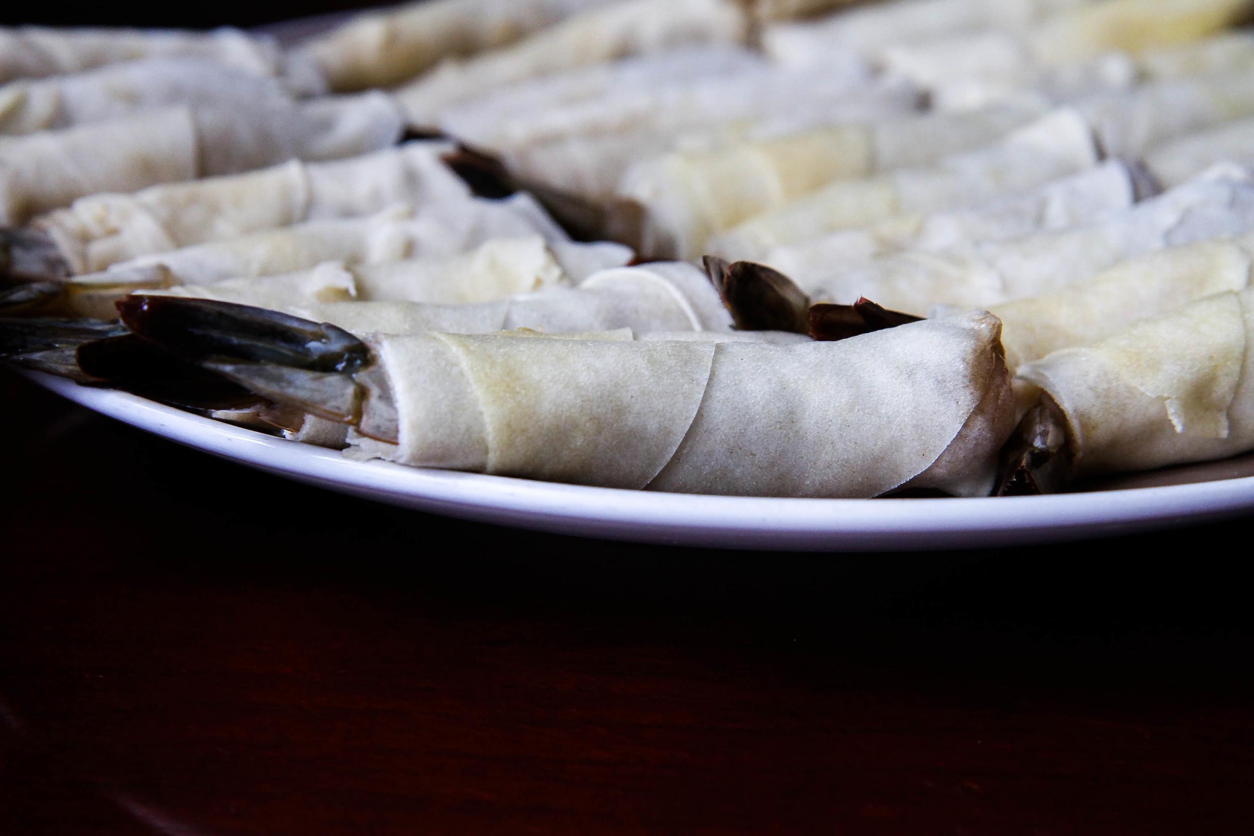 Shrimp Egg Rolls ready for the fryer