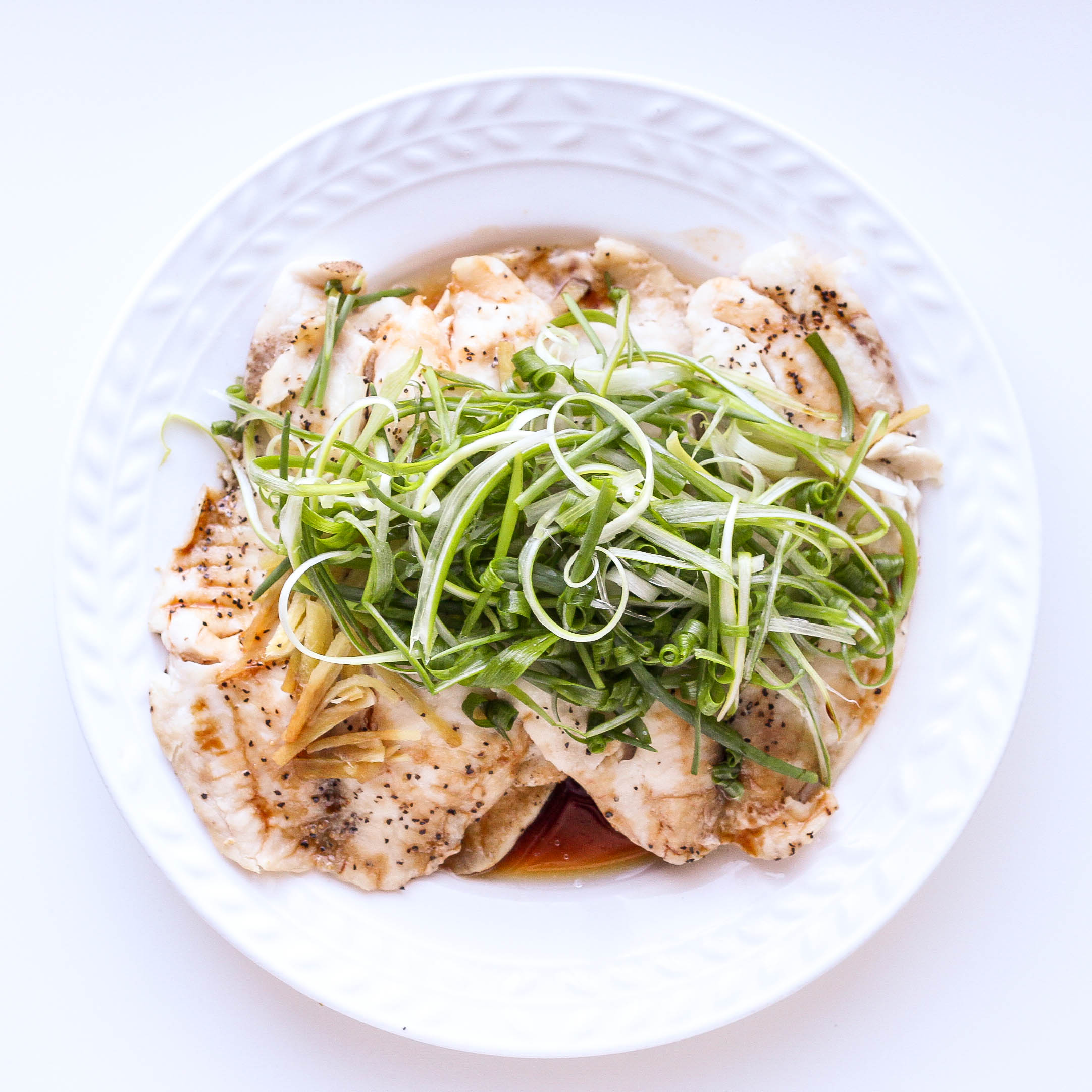 Steamed Fish with Scallions, Ginger and Soy Sauce (Ca Hap Gung Hanh)