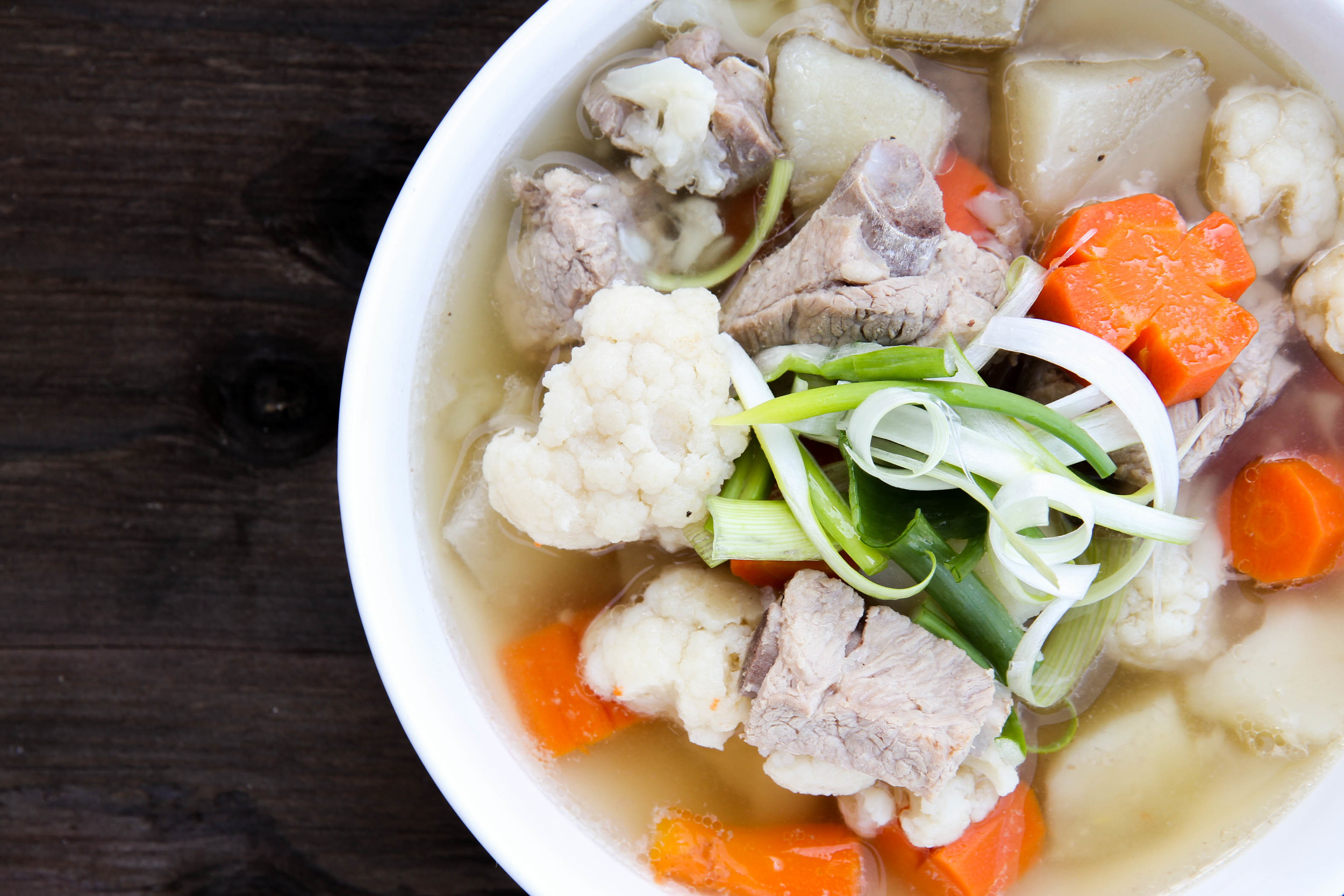 Vietnamese Pork Spare Rib Soup with Potatoes, Carrots and Cauliflower
