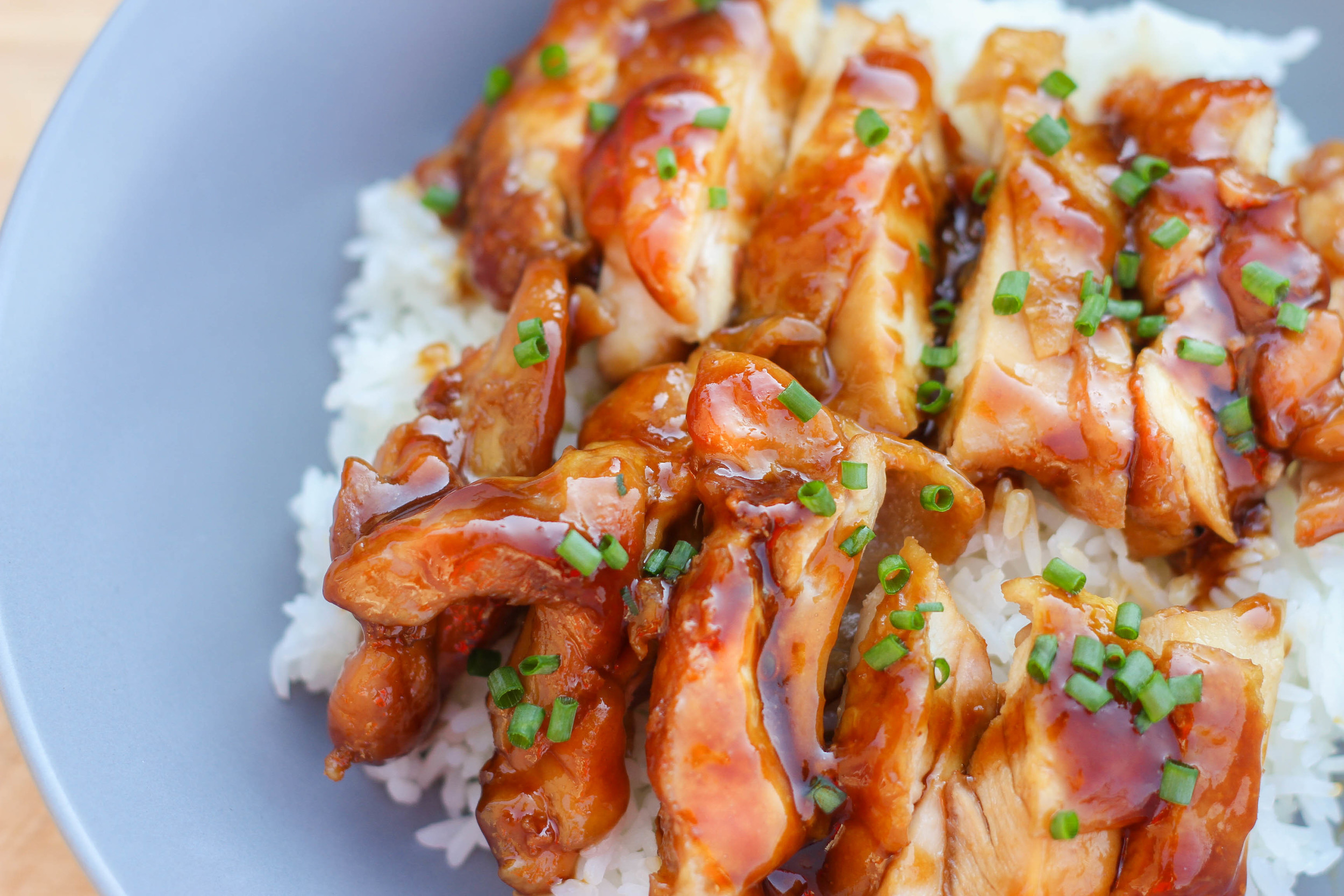 Chicken teriyaki over steamed white rice