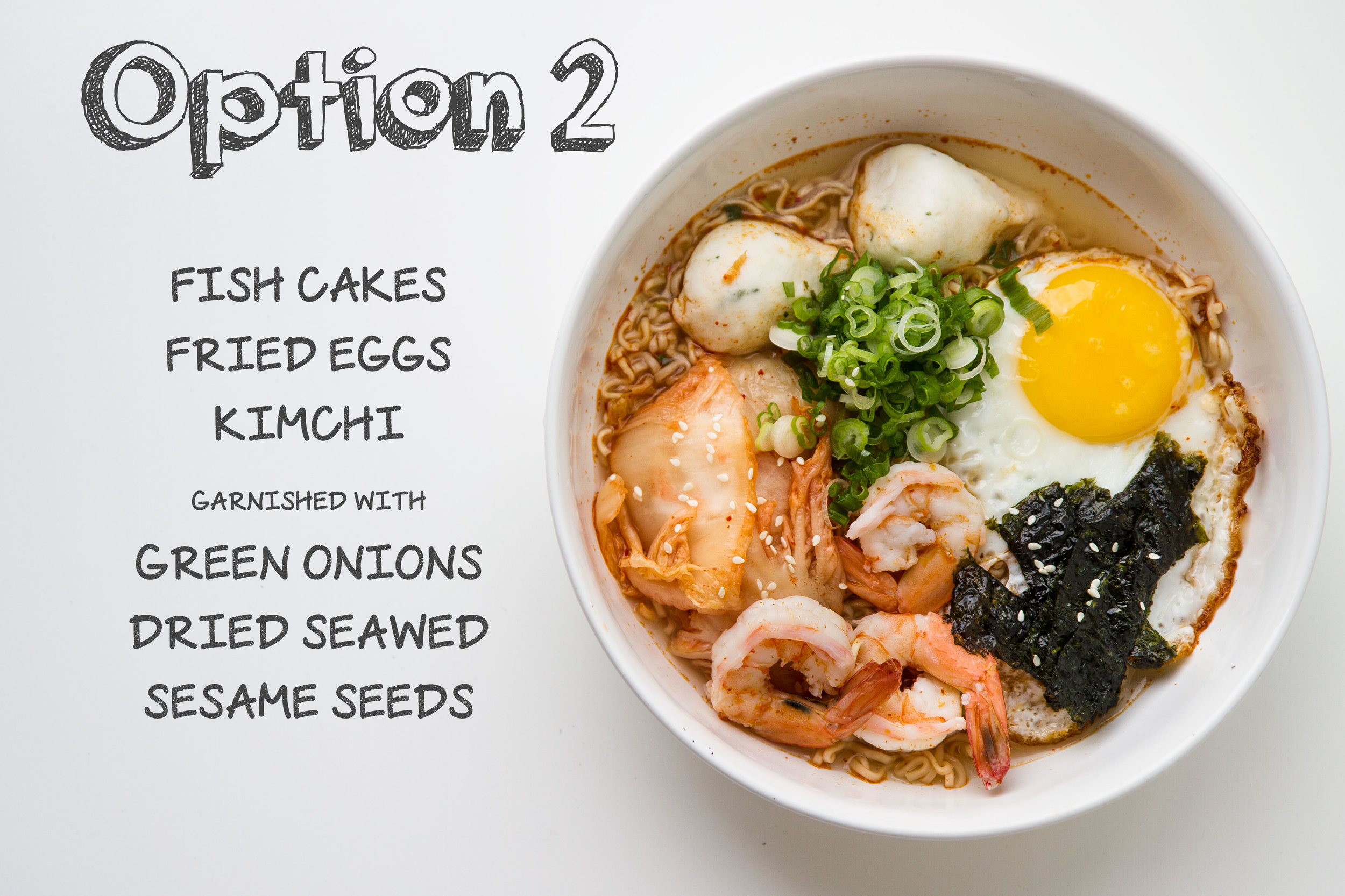 Instant Noodles with Fish Cakes, Shrimp, Kimchi, and Fried Egg