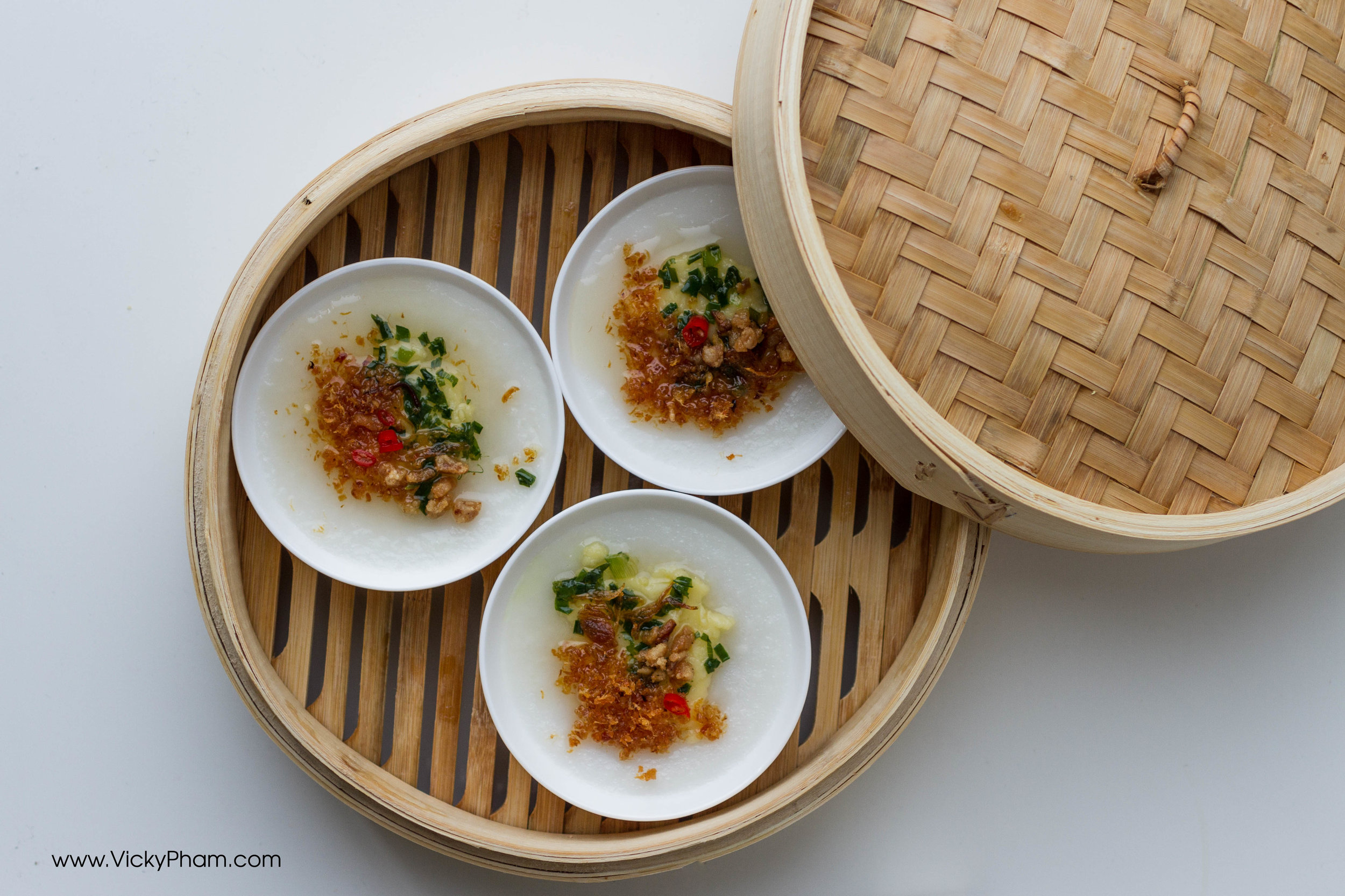 Banh Beo with mung bean paste, fried pork fat, dried shrimp, scallion oil, and sweet chili dipping sauce