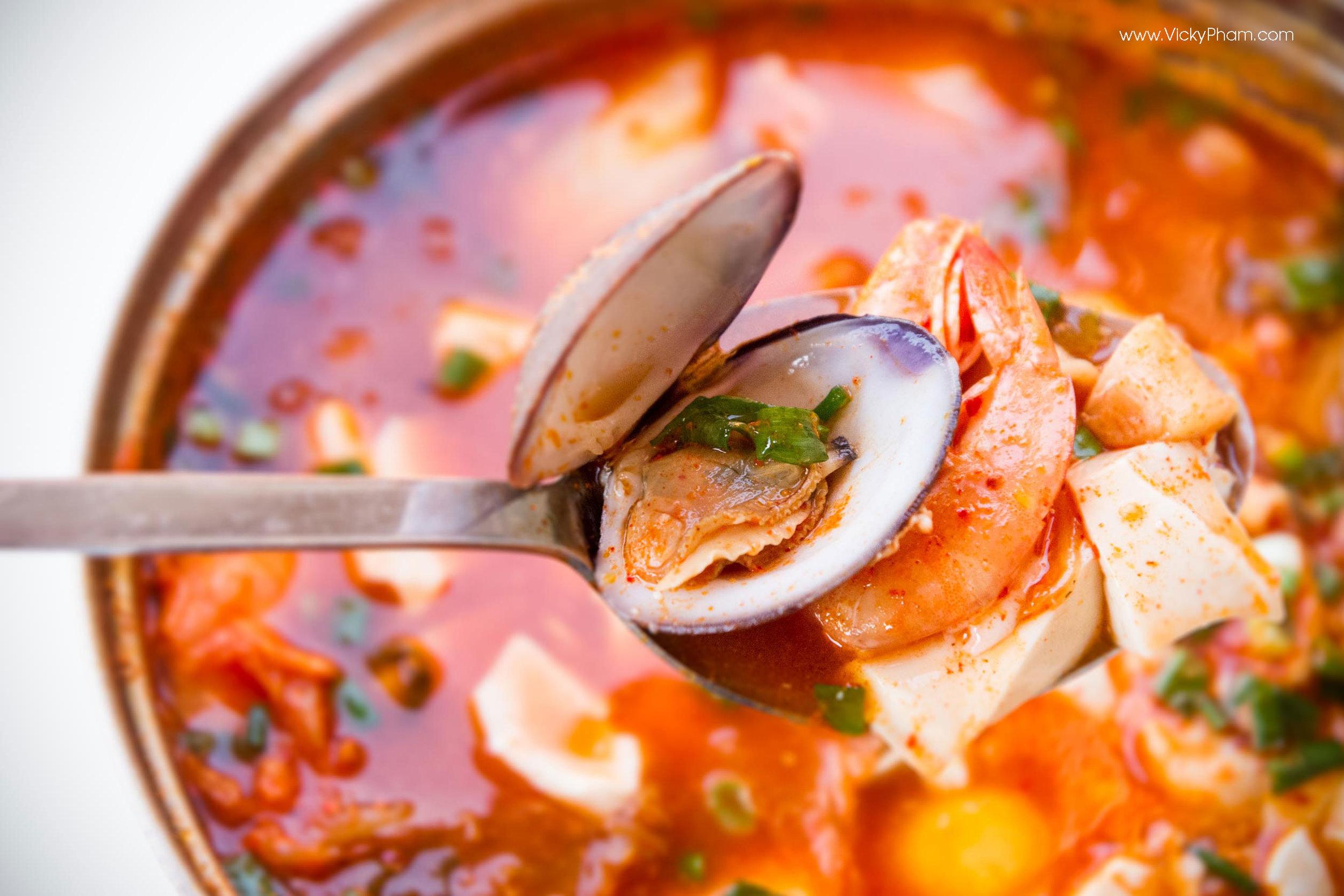 Korean Seafood Soft Tofu Stew (Haemul Sundubu Jjigae)