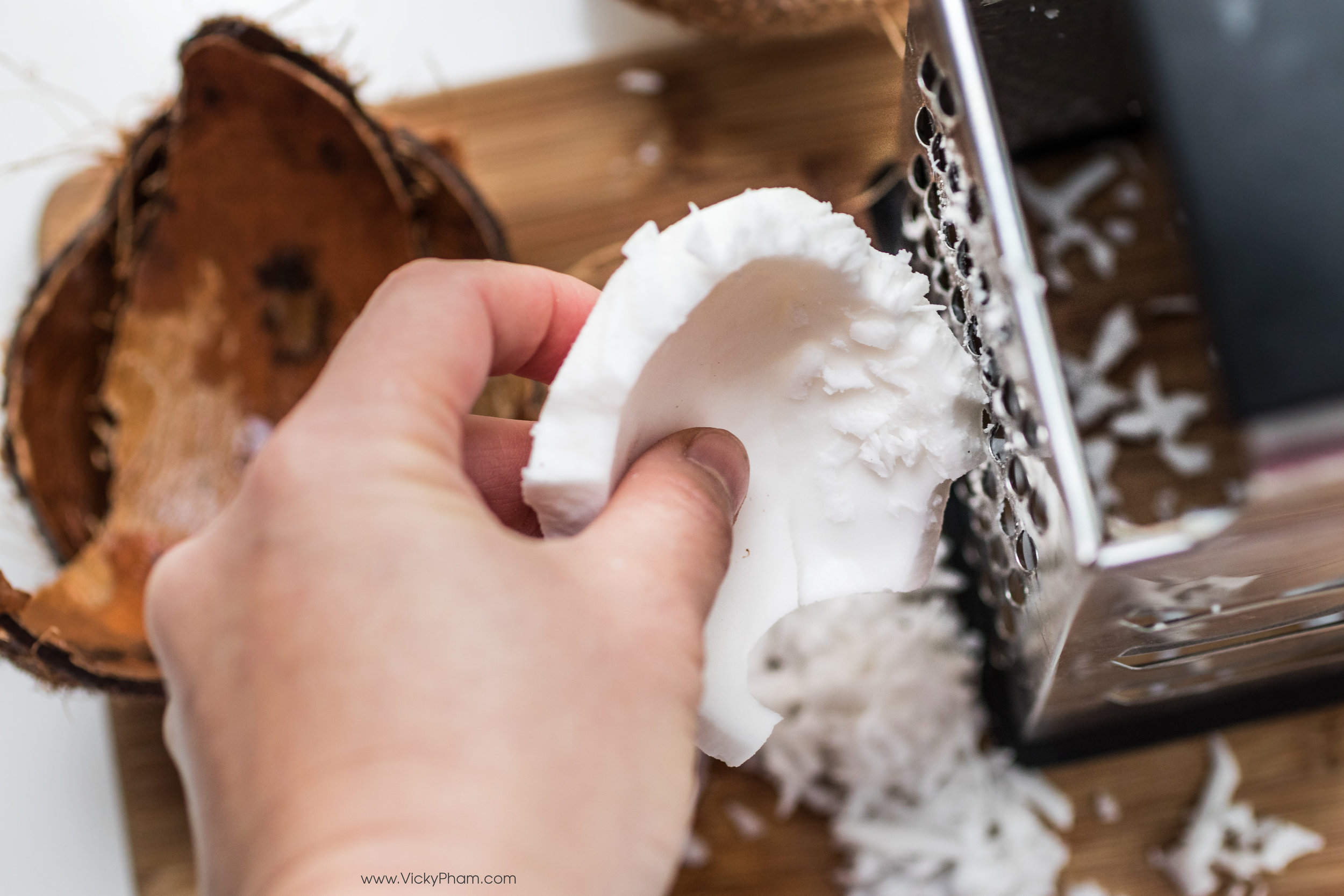Grated my own coconut. Not recommended! If you can get unsweetened shredded coconut at the store, DO IT (almost died).