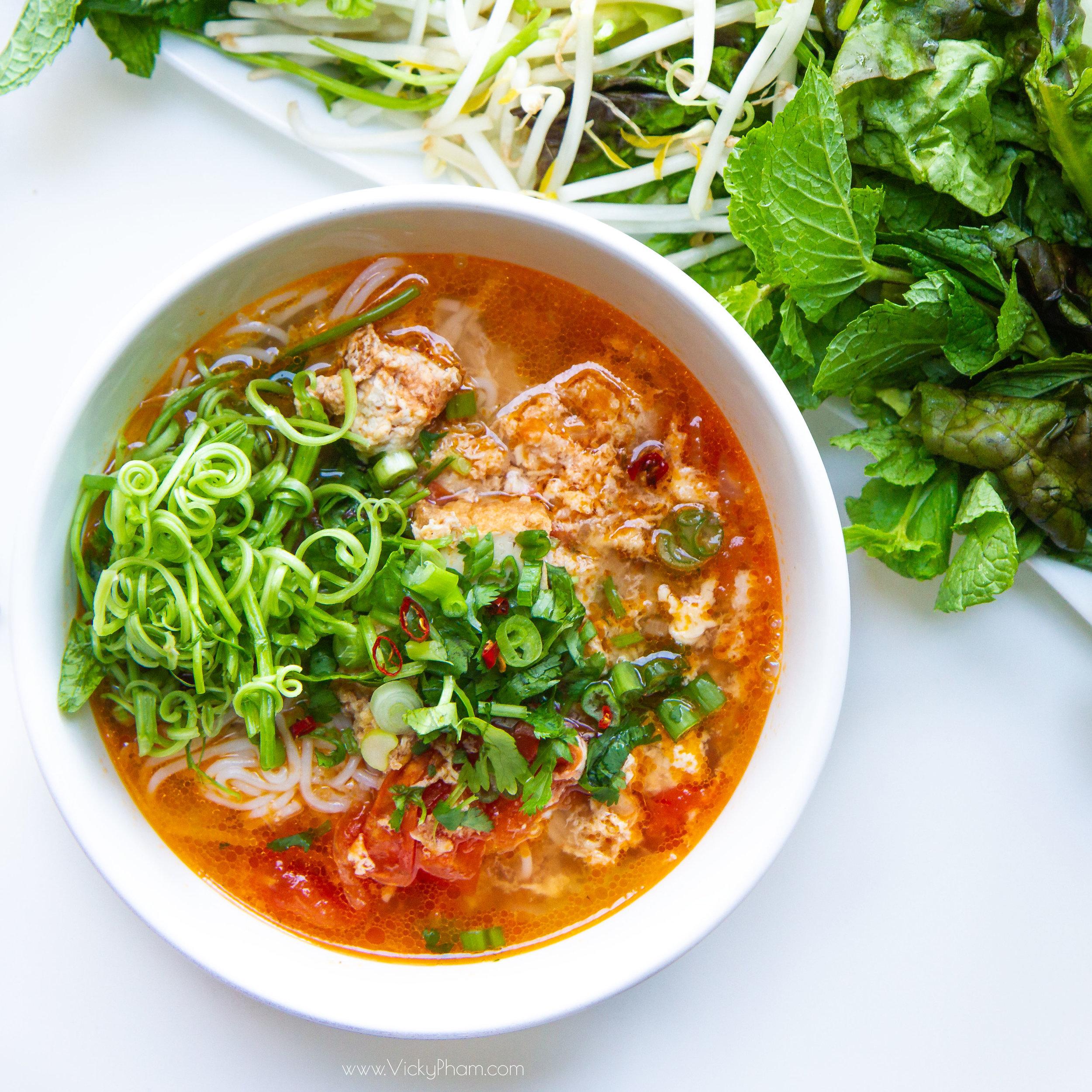 Vietnamese Pork & Crab Noodle Soup (Bun Rieu)