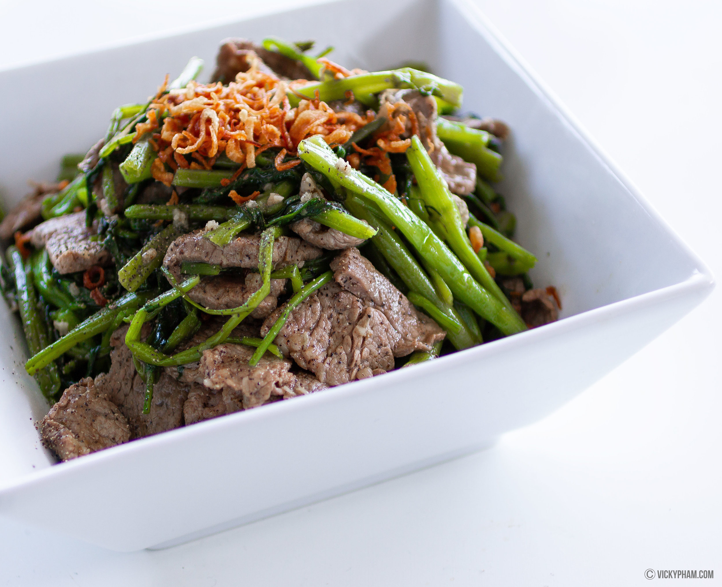 Stir-fried Water Spinach/Morning with Beef (Rau Muong Xao Thit Bo)