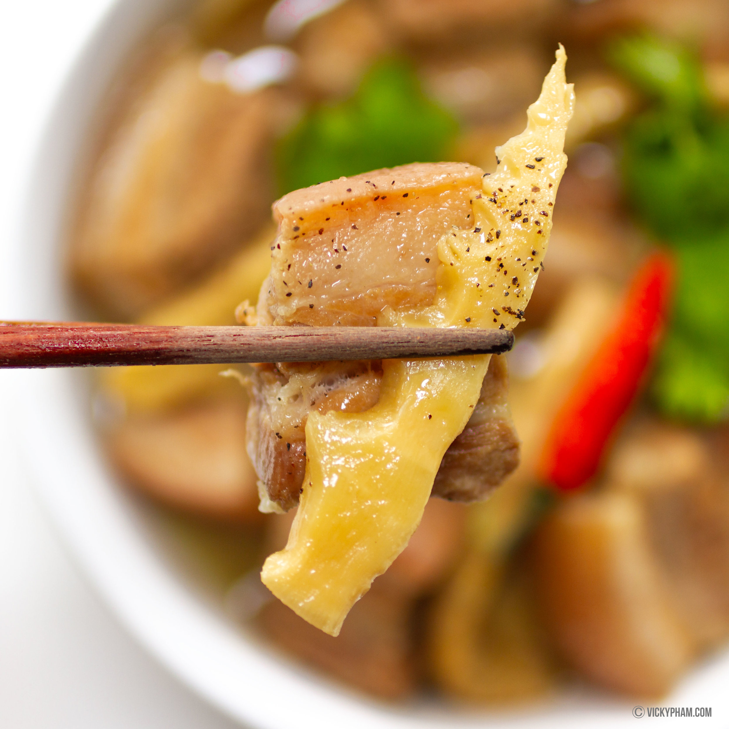 Vietnamese Caramelized Pork Belly with Young Bamboo Shoots (Thit Ba Chi Kho Mang Tuoi)