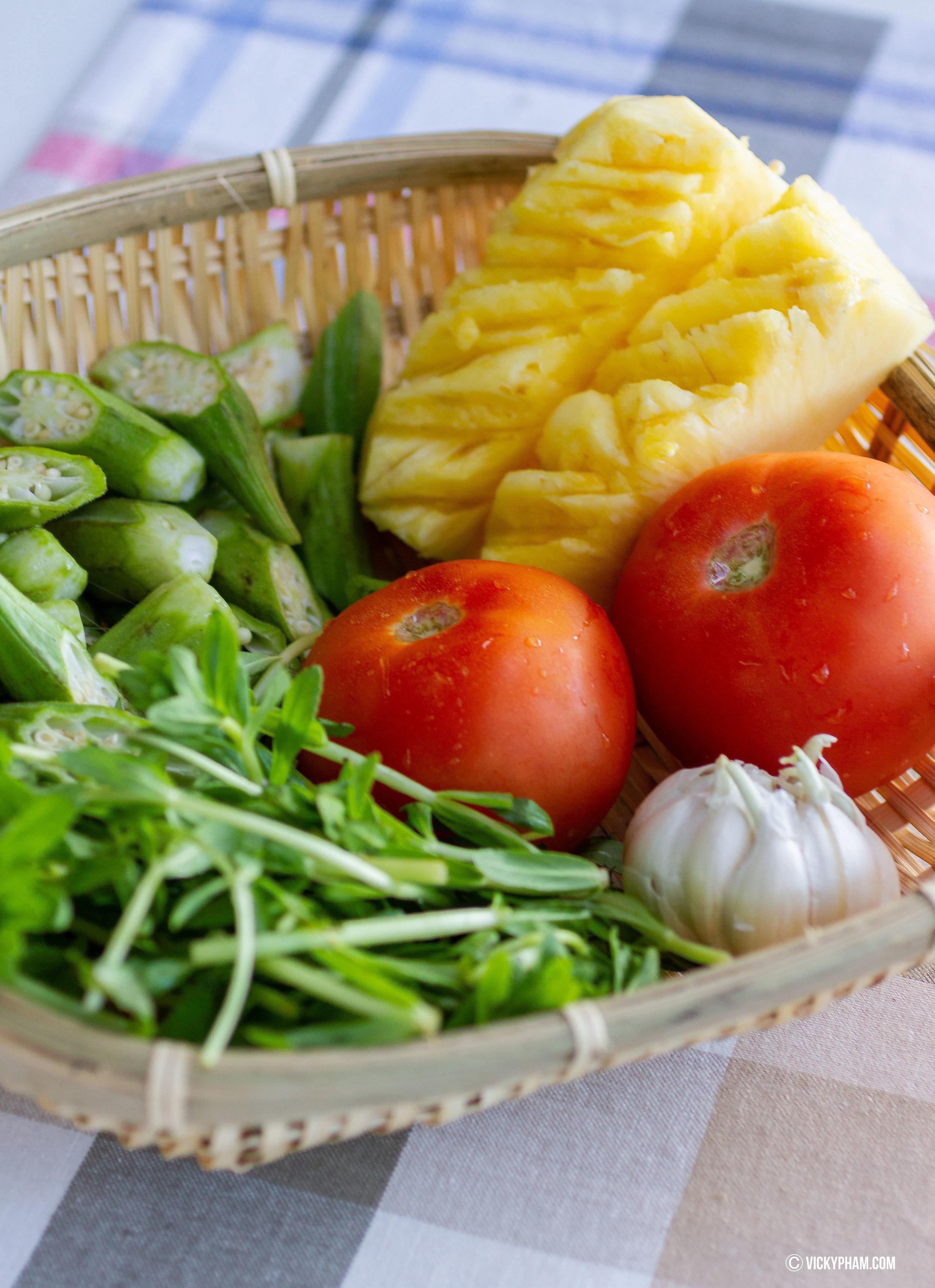Vietnamese Sweet & Sour Shrimp Soup with Pineapple (Canh Chua Tom Nau Thom)