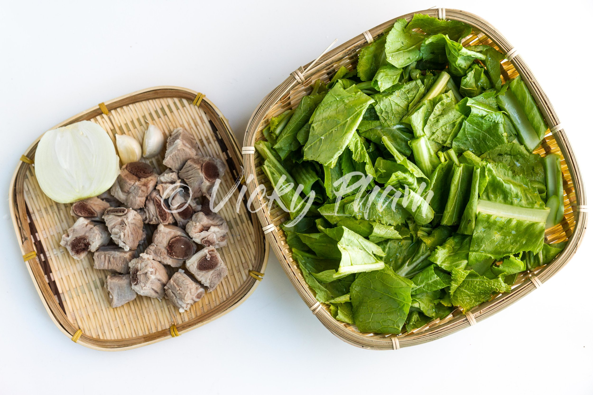 Ingredients for Vietnamese Mustard Green Soup (Canh Cai Be Xanh)