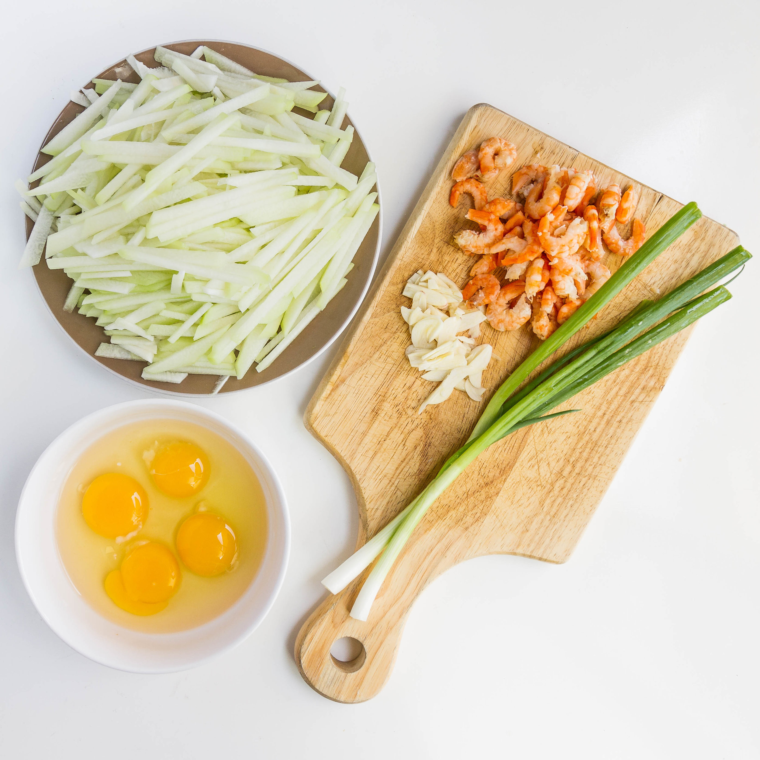 Vietnamese Chayote and Dried Shrimp Omelette (Trung Chien Su Su Tom Kho)