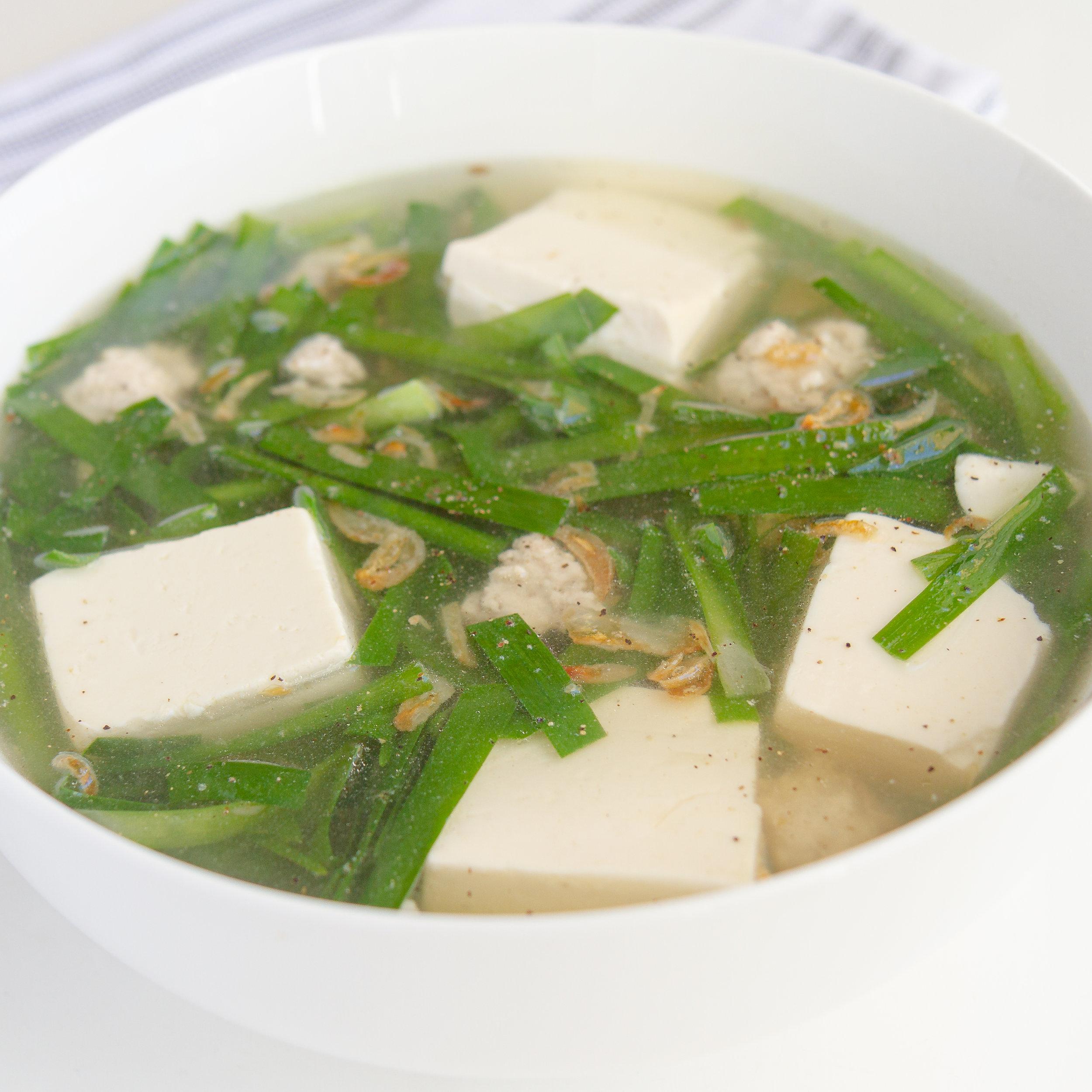 Vietnamese Tofu and Garlic Chive Soup with Ground Pork (Canh Dau Hu He Nau Thit Bam)