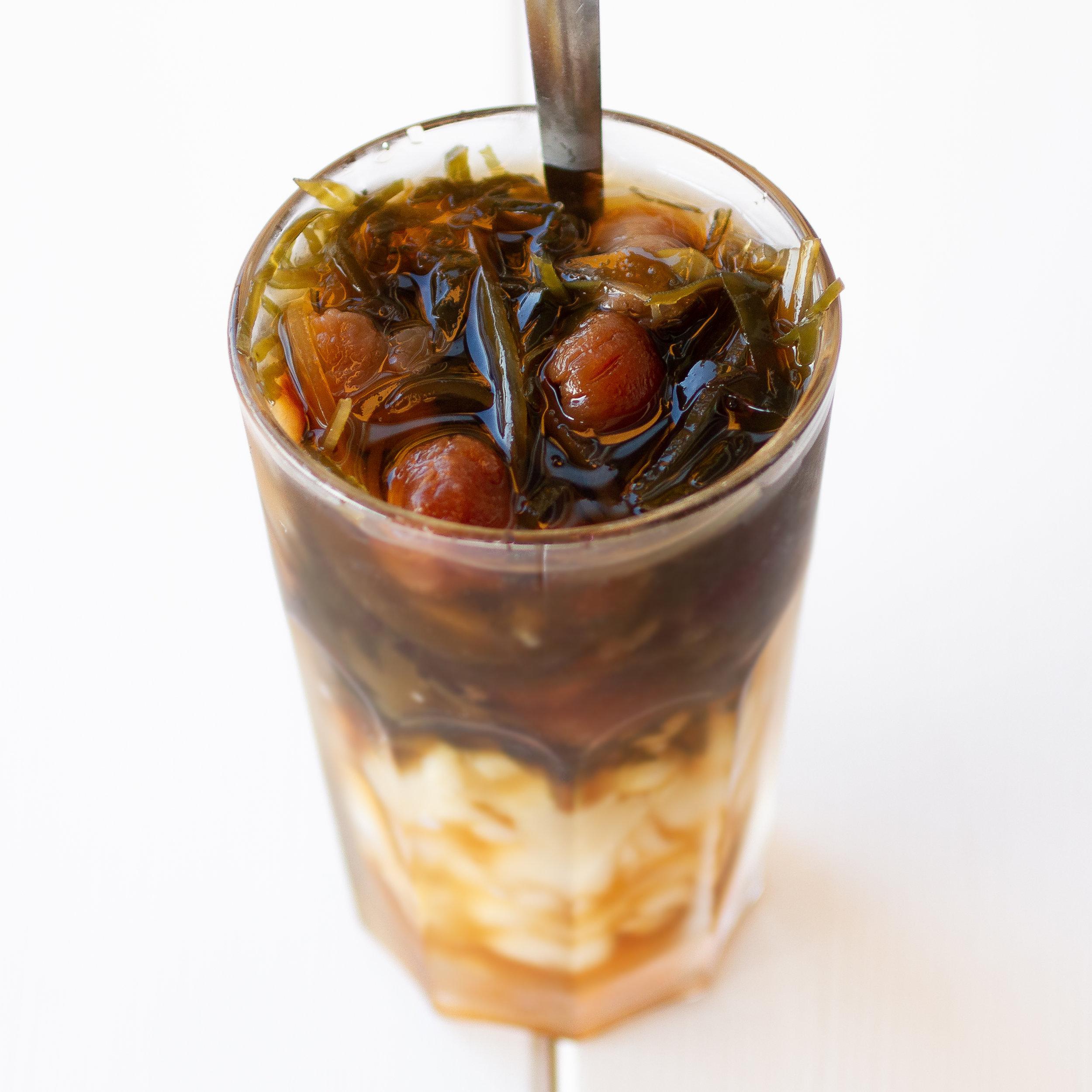 Vietnamese Refreshing Iced Dessert Drink with Seaweed, Lotus Seeds, Jujube, Longan and Pearl Barley (Che Sam Bo Luong)