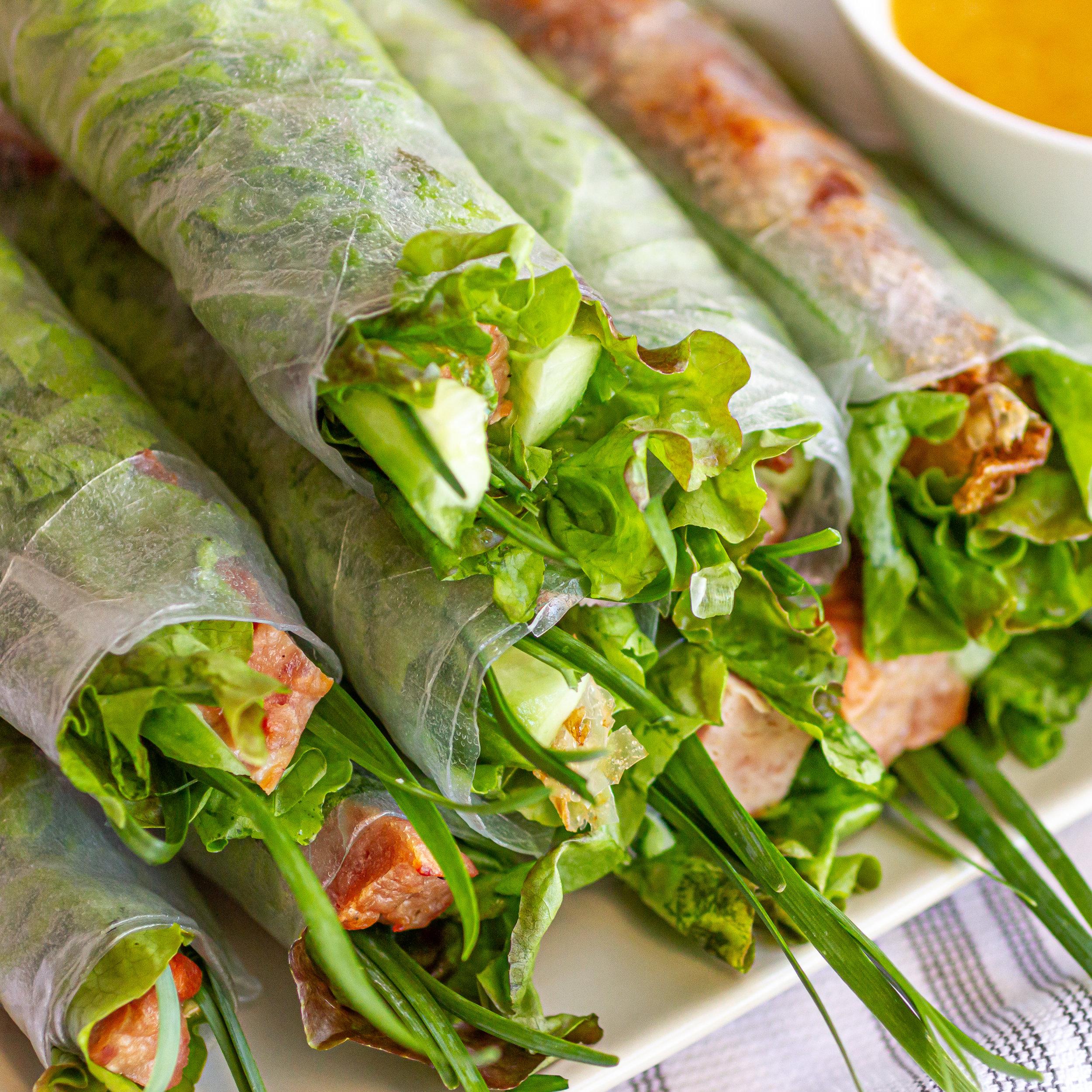 Vietnamese Grilled/Baked Pork Sausage Spring Rolls with Orange Dipping Sauce (Nem Nuong Nha Trang)