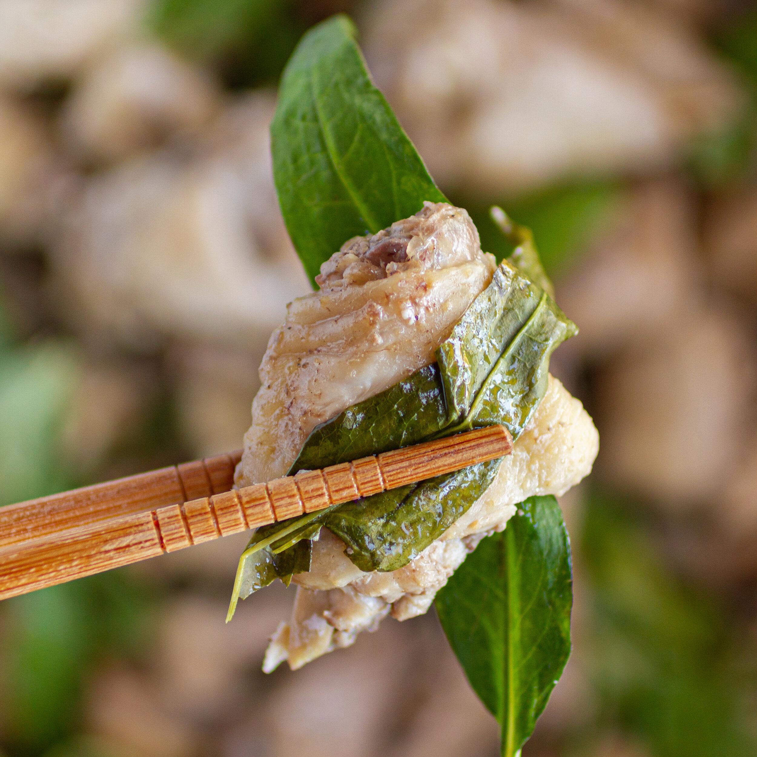 Steamed Chicken with Vietnamese Coriander (Ga Hap Rau Ram)