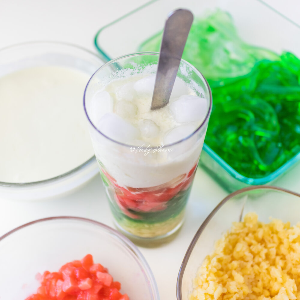 Vietnamese Rainbow Dessert with Green & White Pandan Jelly, Red Faux Pomegranate Seeds and Yellow Mung Bean (Che Suong Sa Hat Luu)