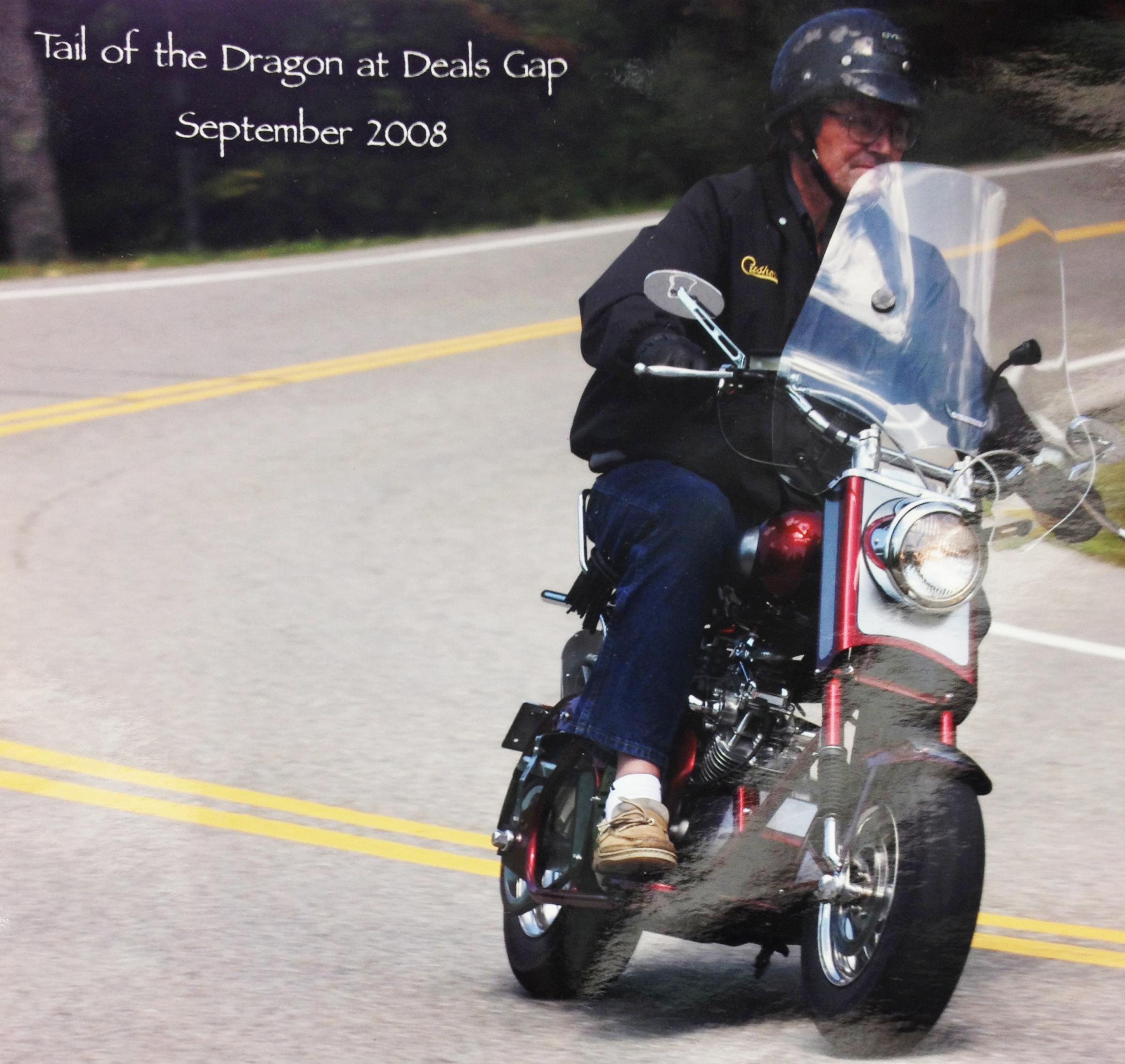 Phil Riding his Custom Cushman at Deals Gap!