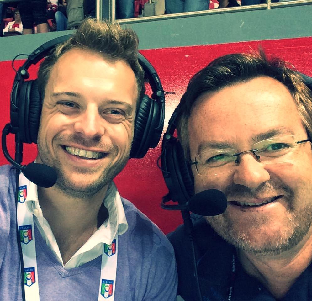 Patrick and his Benfica co-commentator Carlos Bastos